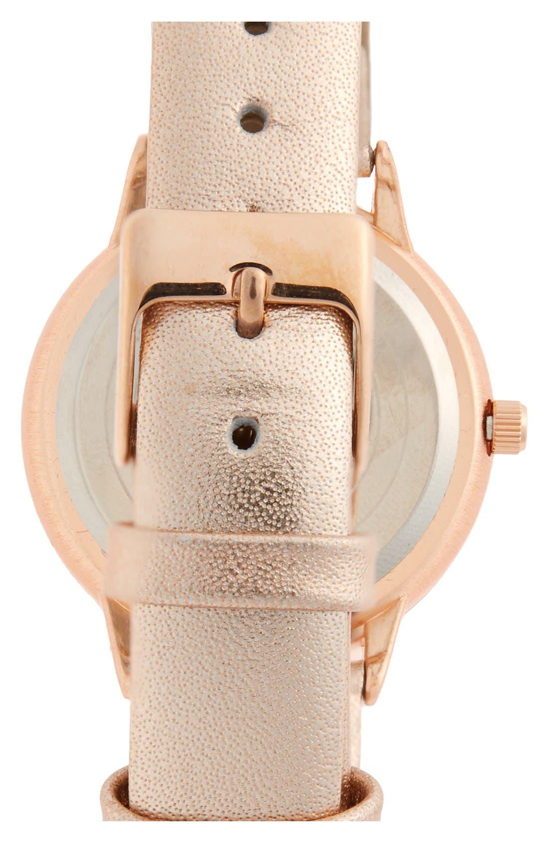 Alternate Image 2  - Topshop Ombré Border Dial Leather Strap Watch, 35mm