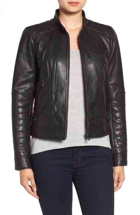Bernardo Quilted Leather Moto Jacket (Regular   Petite)