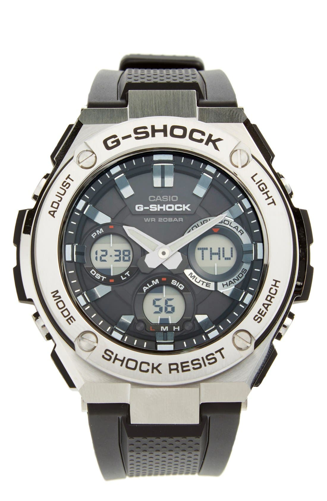 G-Shock 'G-Steel' Ana-Digi Resin Strap Watch, 59mm x 52mm