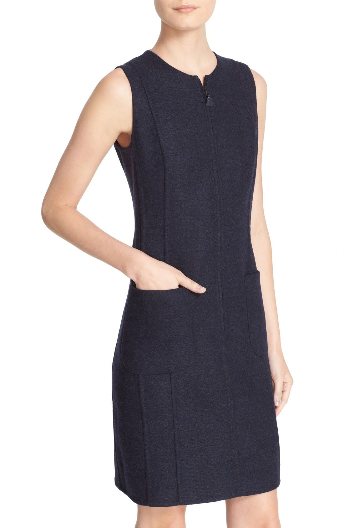 Alternate Image 6  - Akris Reversible Front Zip Double Face Wool Sheath Dress