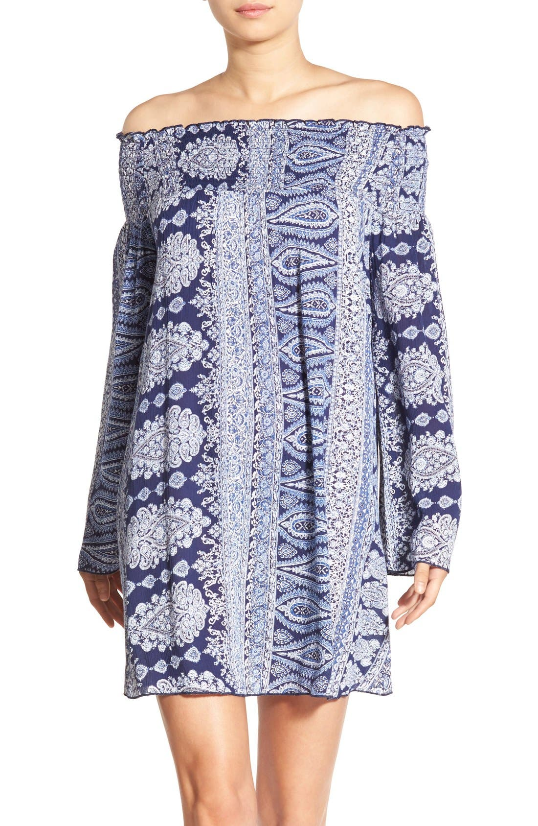 Alternate Image 1 Selected - Band of Gypsies Paisley Off the Shoulder Shift Dress