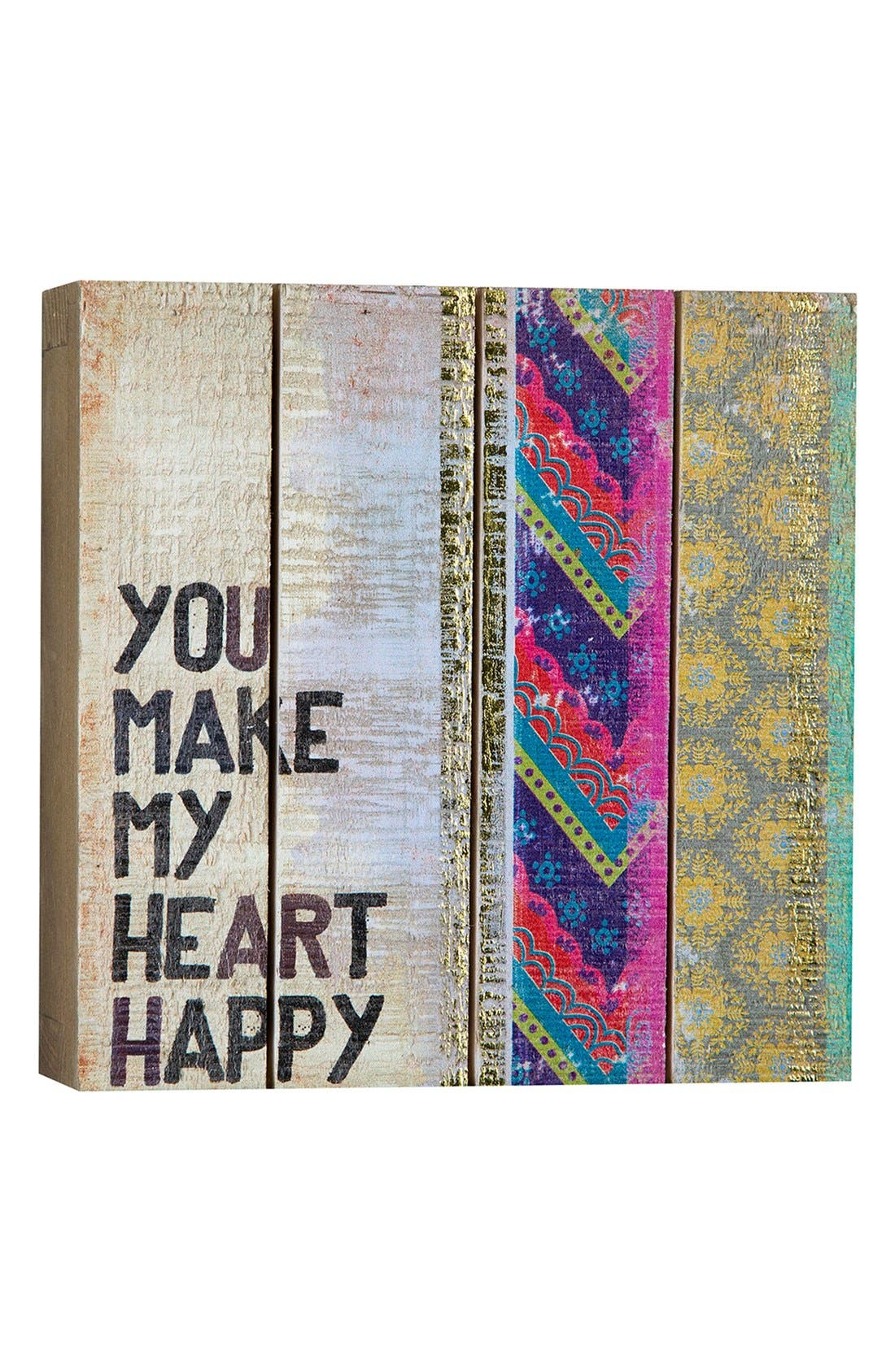 Alternate Image 1 Selected - Natural Life 'You Make My Heart Happy' Wood Wall Art