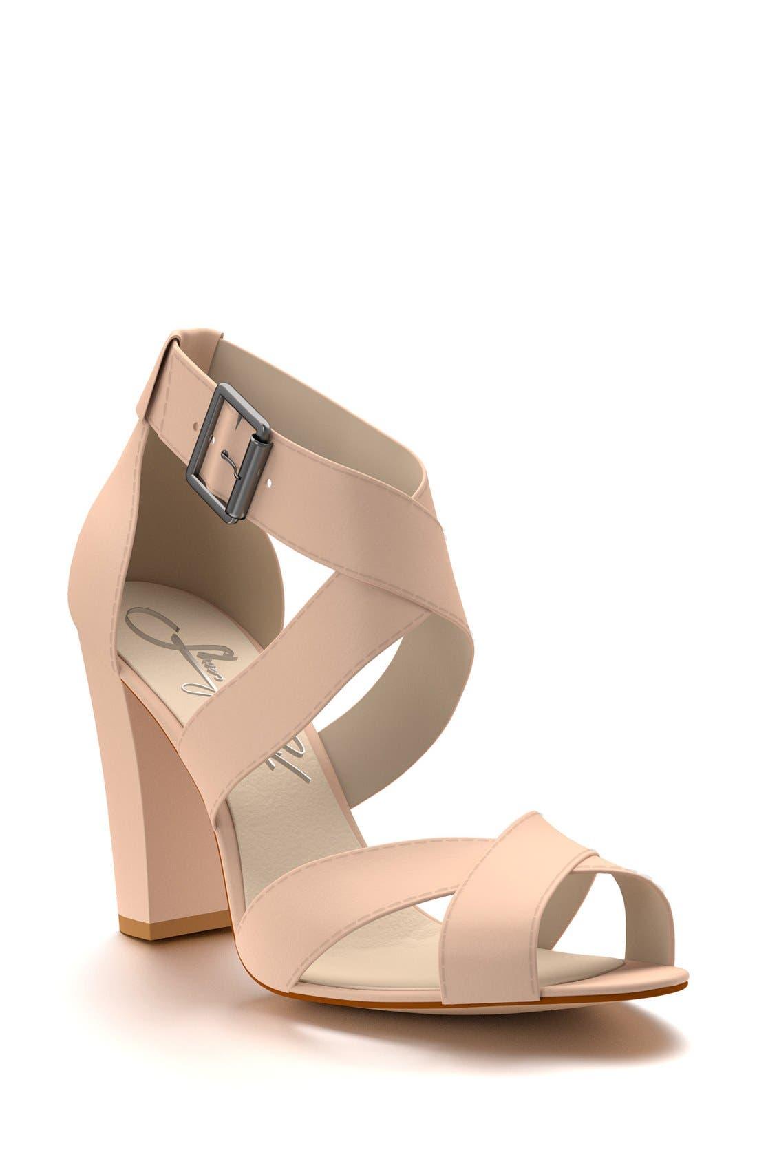 SHOES OF PREY Crisscross Strap Block Heel Sandal