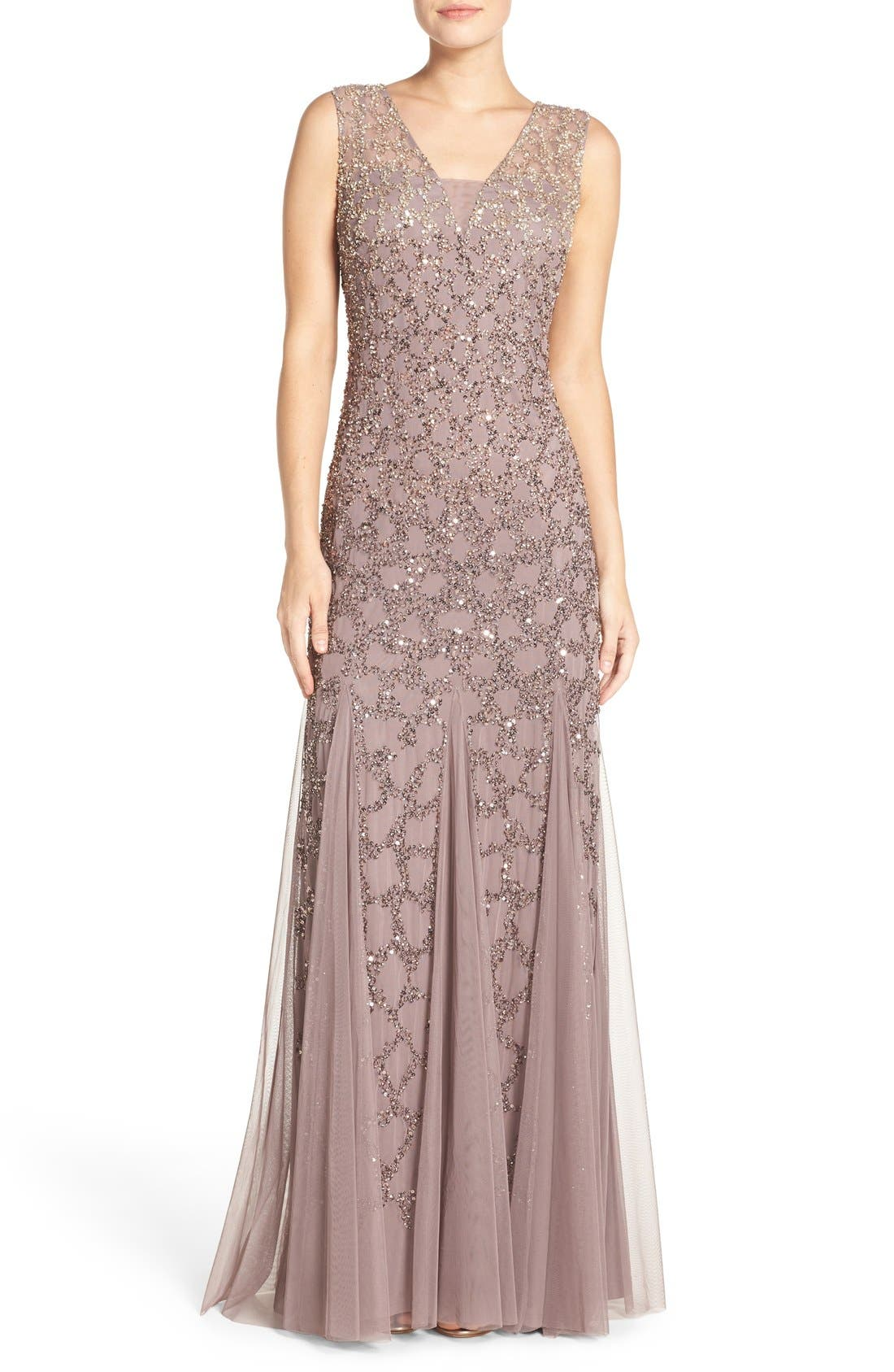 Main Image - Adrianna Papell Pleated Beaded Gown