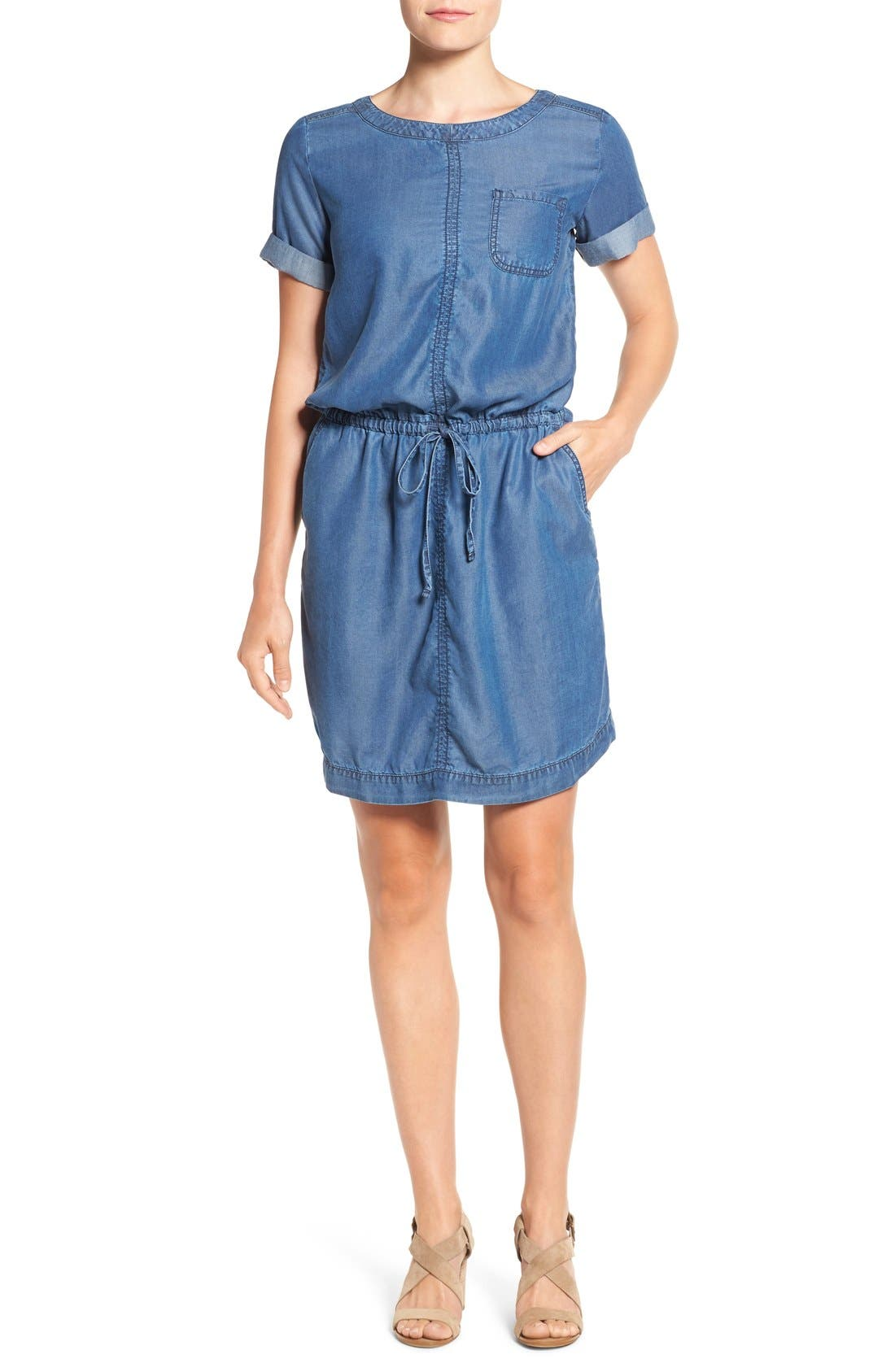 Main Image - Caslon® Chambray Drawstring Waist Dress
