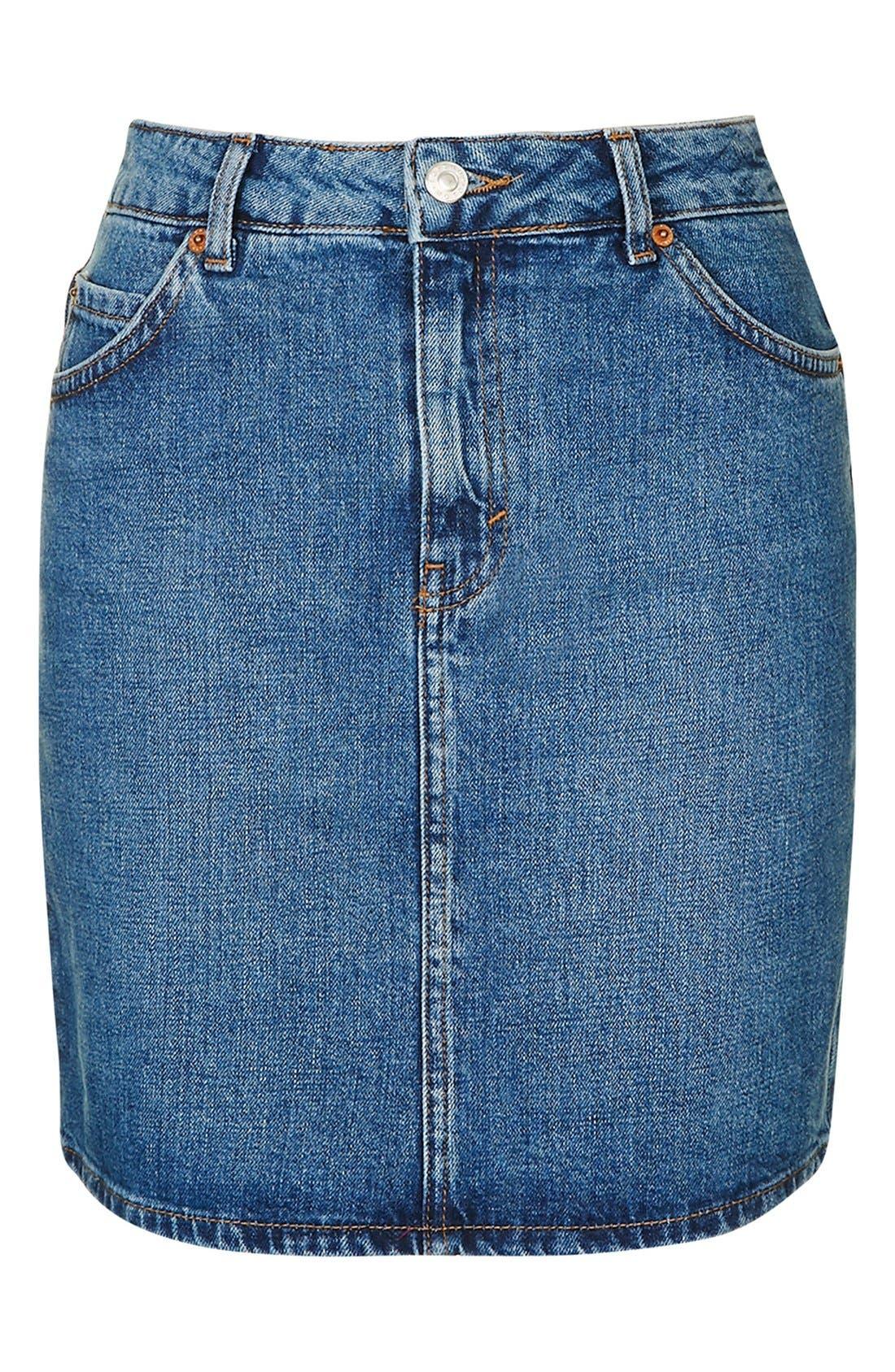 Alternate Image 4  - Topshop Moto High Rise Denim Skirt