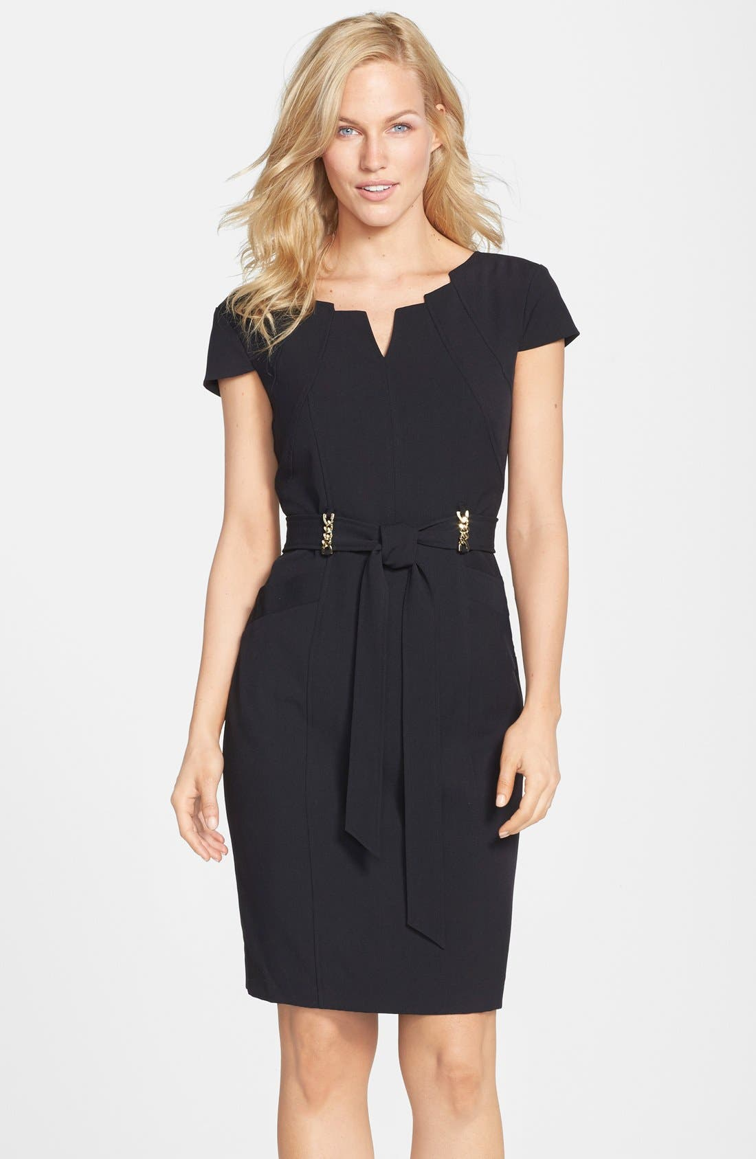 Main Image - Ellen Tracy Stretch Sheath Dress (Regular & Petite)