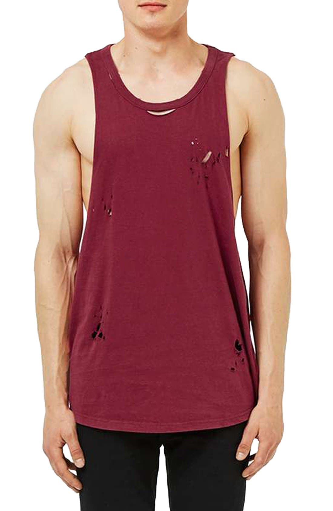 Alternate Image 1 Selected - Topman Distressed Jersey Tank