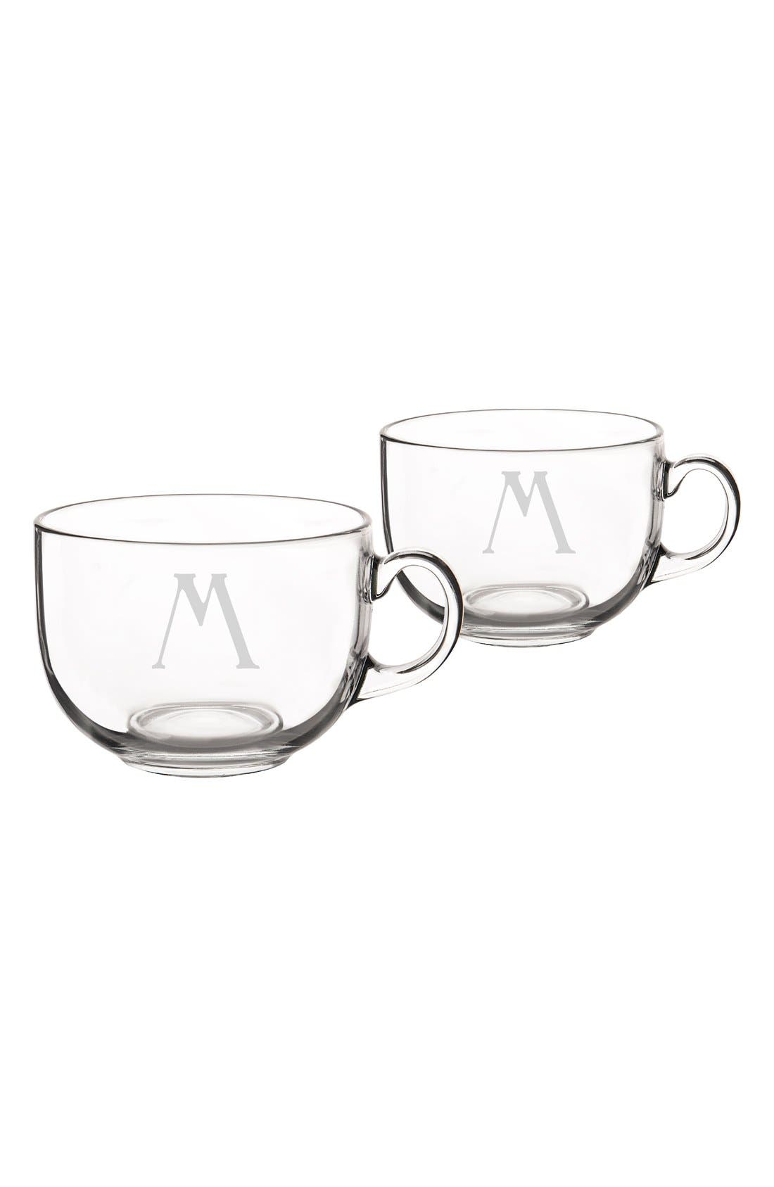CATHY'S CONCEPTS Monogram Glass Coffee Mugs