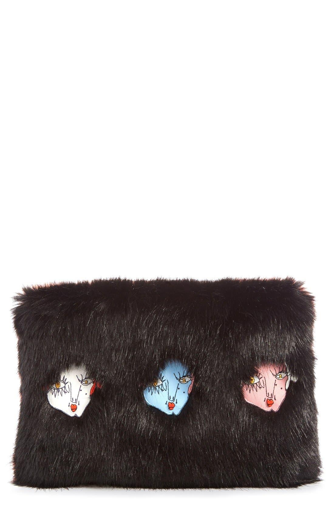 Main Image - Shrimps 'Damsel' Faux Fur Clutch