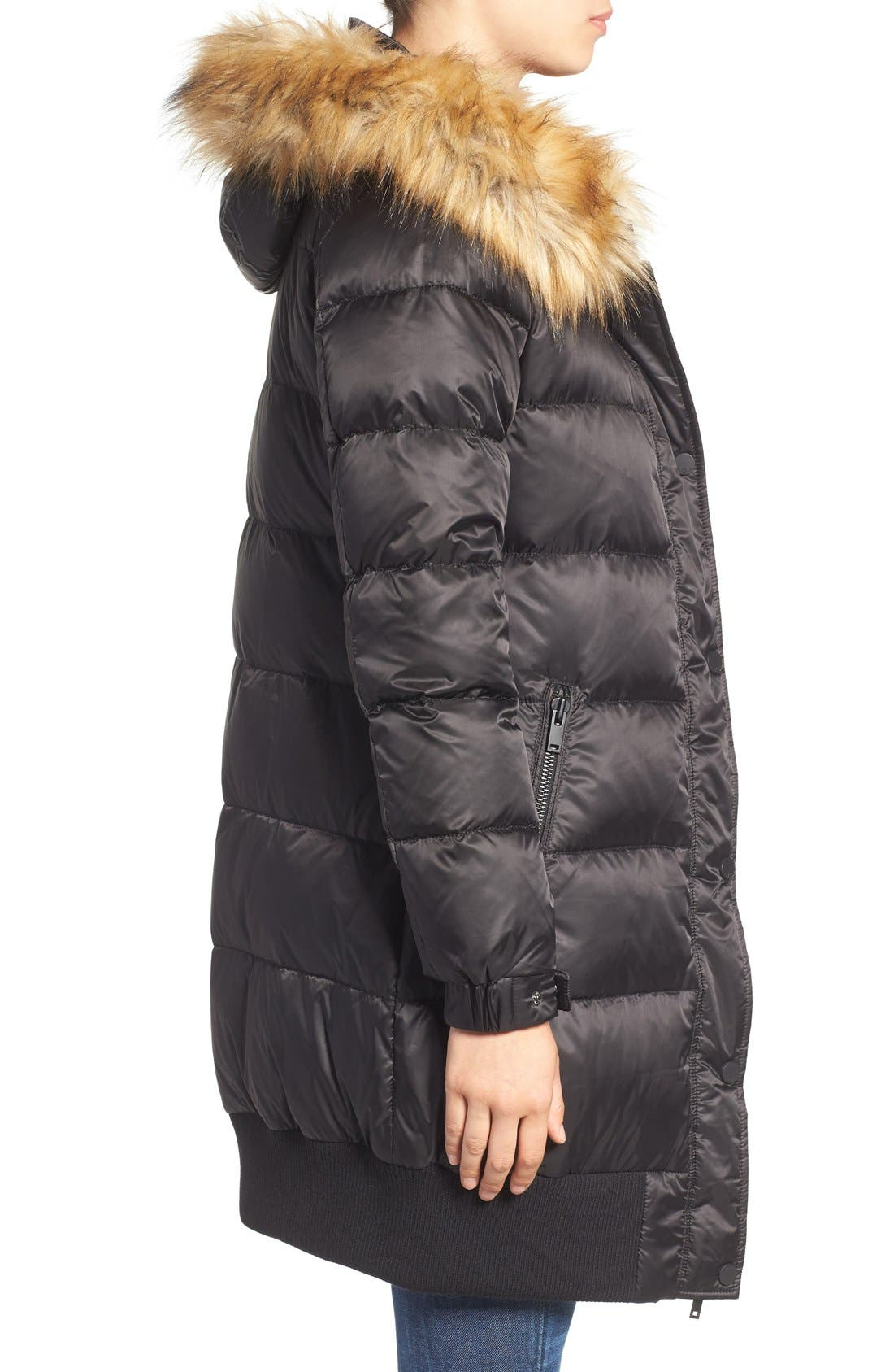 Alternate Image 3  - 7 For All Mankind Quilted Coat with Removable Faux Fur Trim Hood