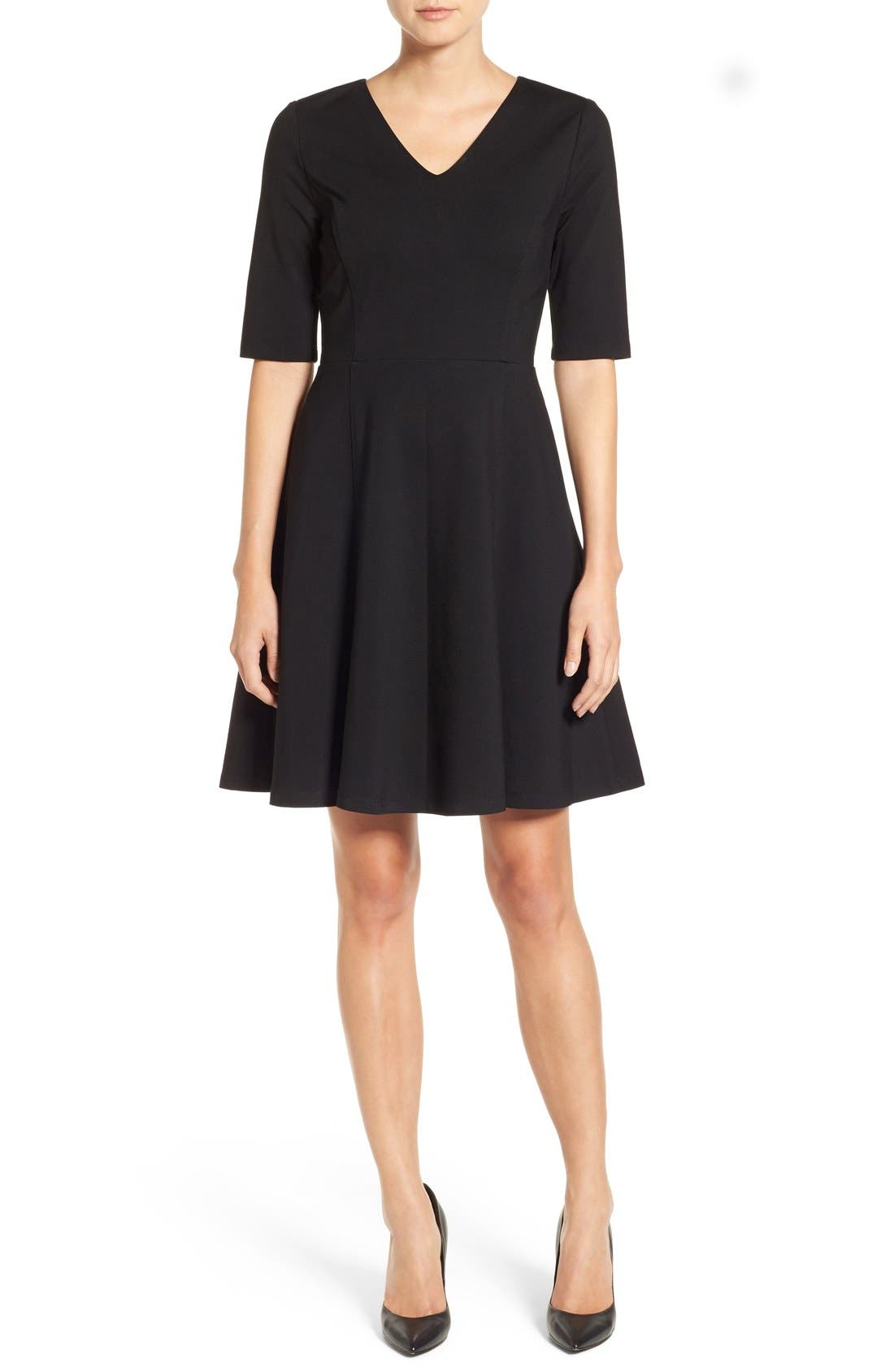 Main Image - Halogen® Ponte Fit & Flare Dress (Regular & Petite)