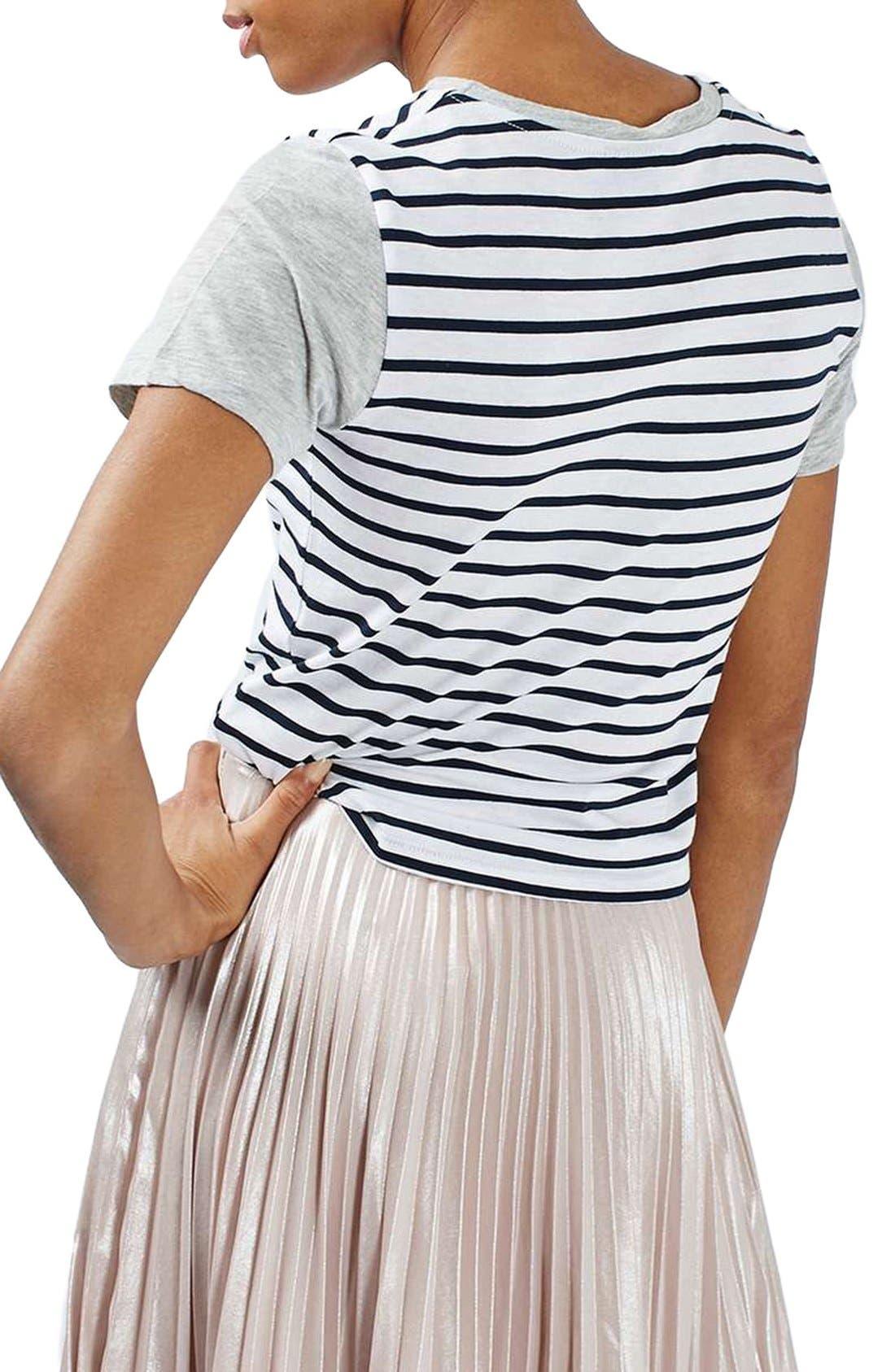Alternate Image 3  - Topshop Colorblock Stripe Tee