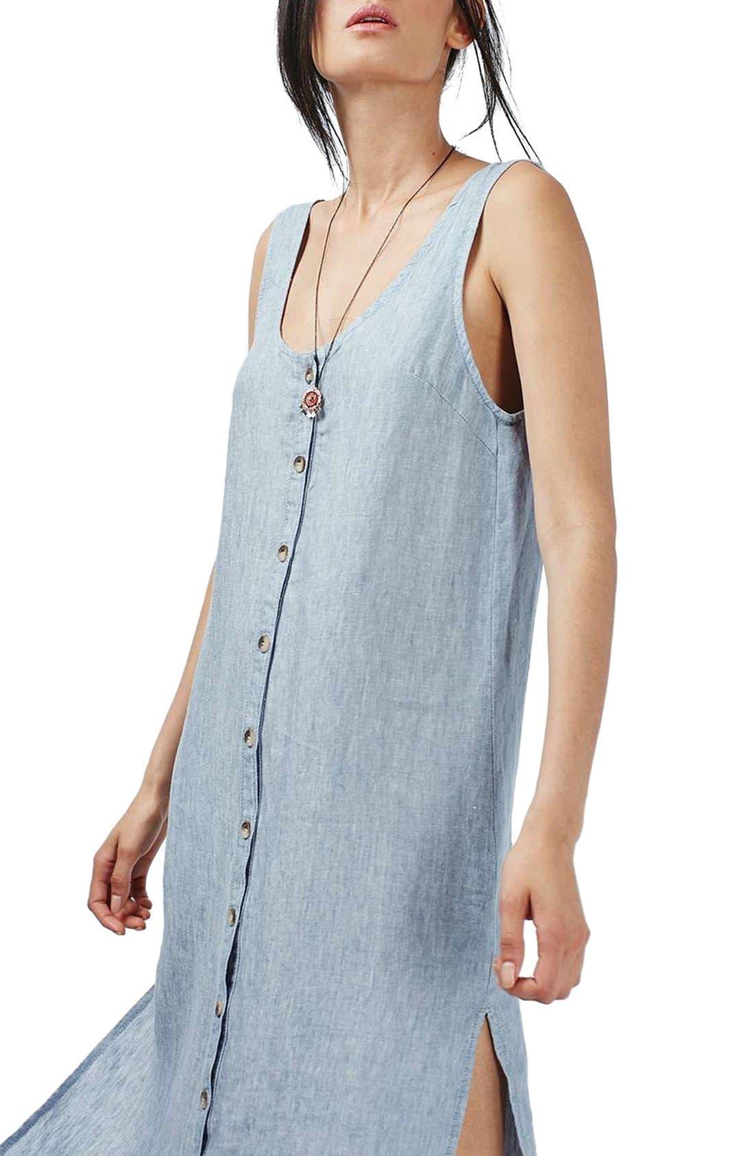 Alternate Image 3  - Topshop Button Front Linen Maxi Dress