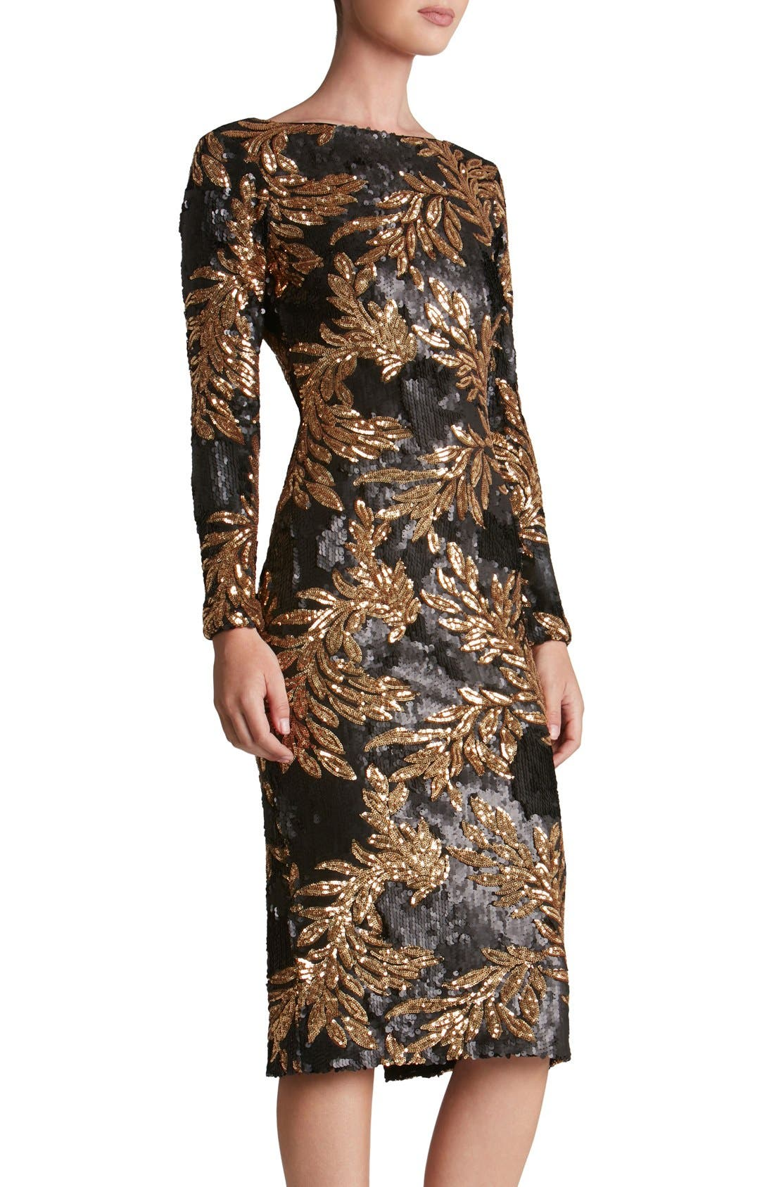 Alternate Image 4  - Dress the Population 'Emery' Scoop Back Two-Tone Sequin Sheath Dress