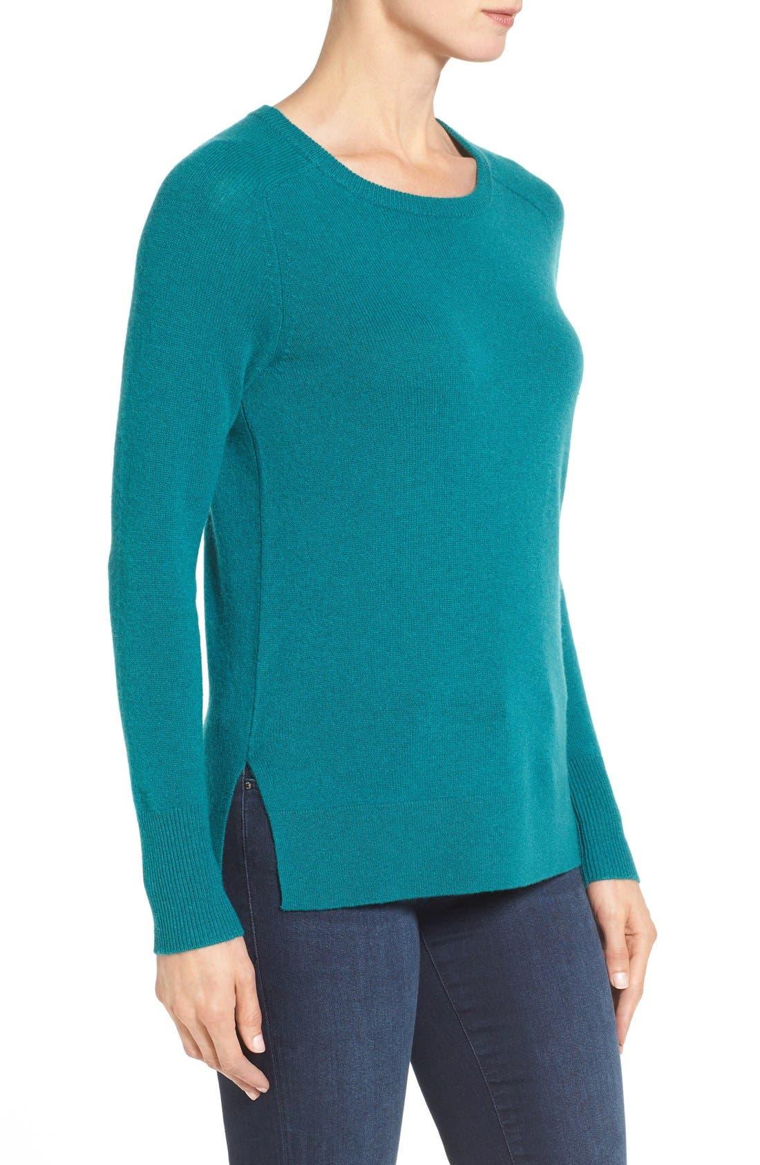 Alternate Image 3  - Halogen® Crewneck Lightweight Cashmere Sweater (Regular & Petite)