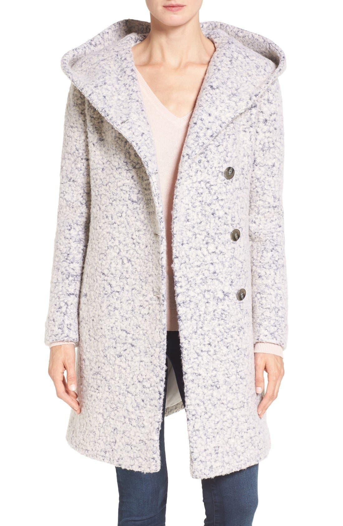 Alternate Image 1 Selected - Cole Haan Signature Hooded Bouclé Coat