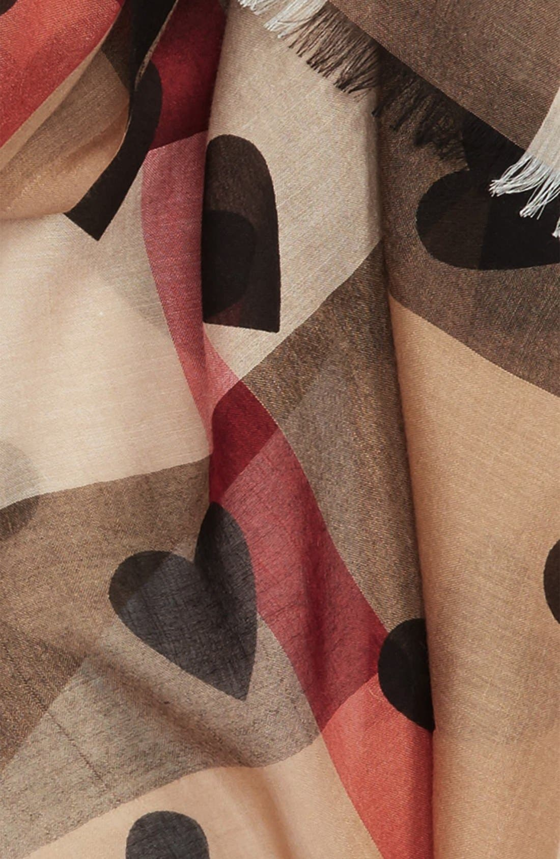 Alternate Image 3  - Burberry Check & Heart Pattern Scarf