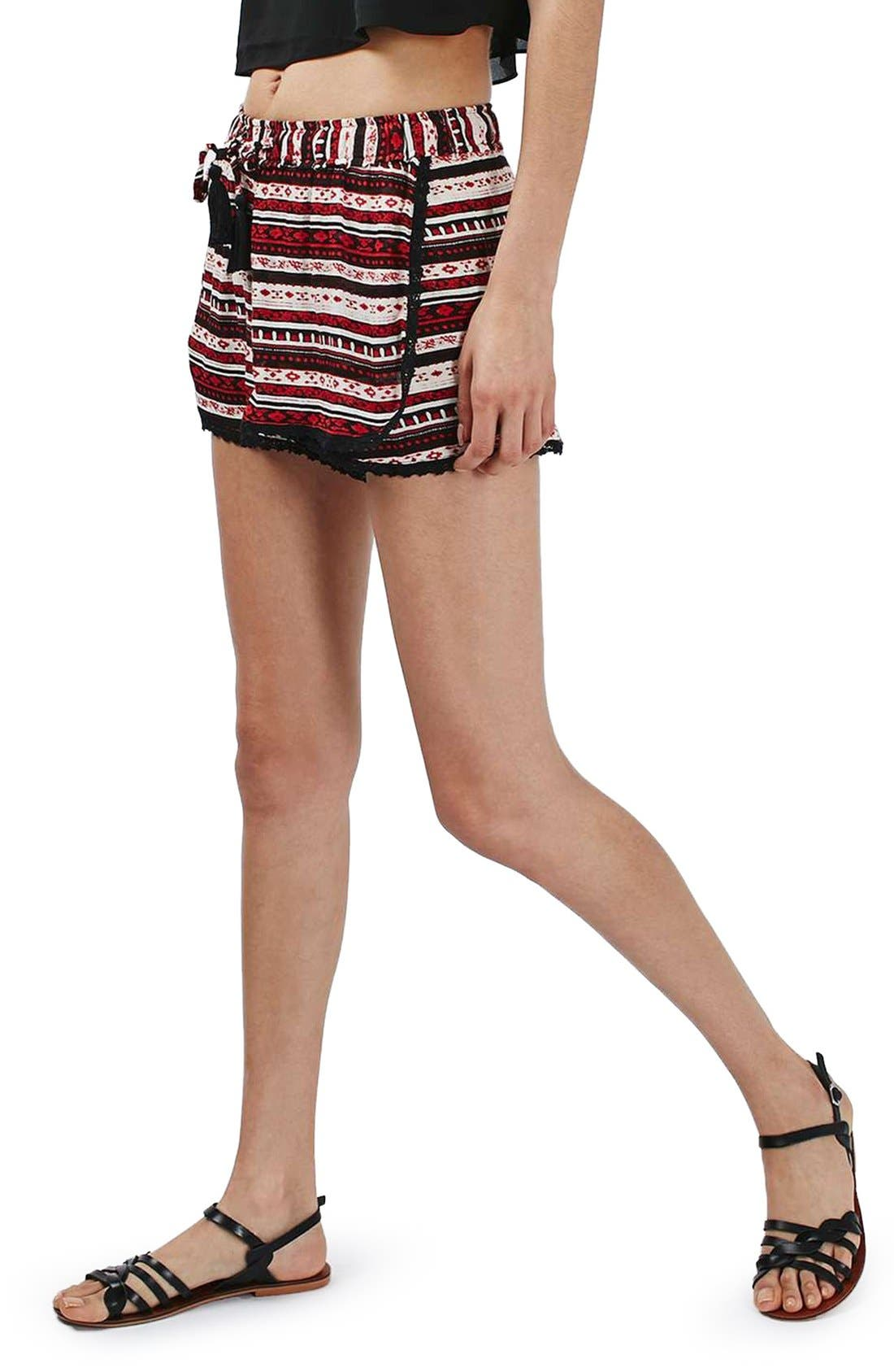 Alternate Image 3  - Topshop Crochet Trim Southwest Stripe Shorts