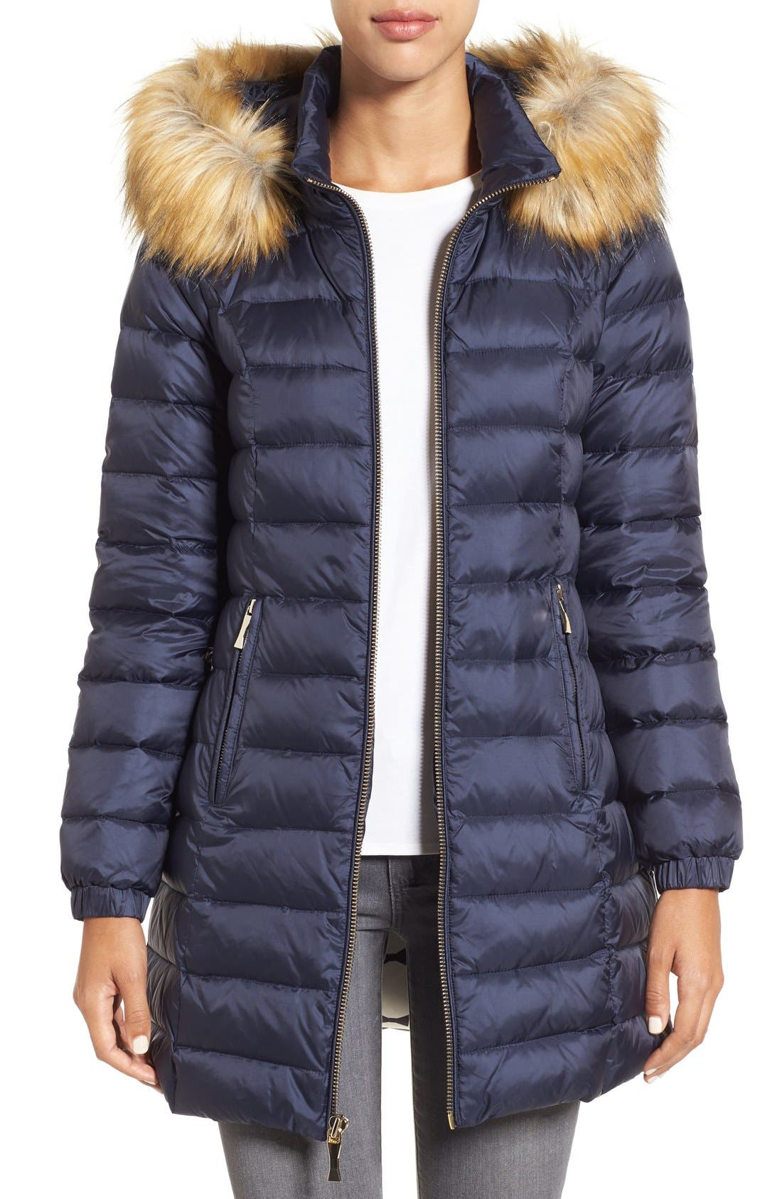 Main Image - kate spade new york bow back down coat with faux fur trim