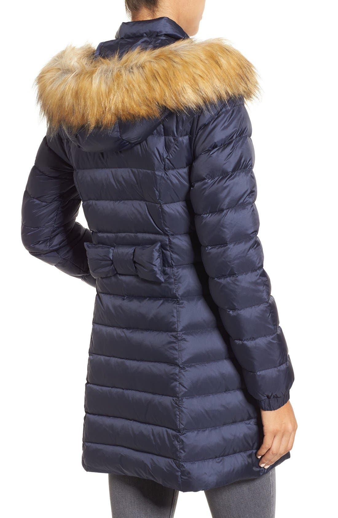 Alternate Image 2  - kate spade new york bow back down coat with faux fur trim