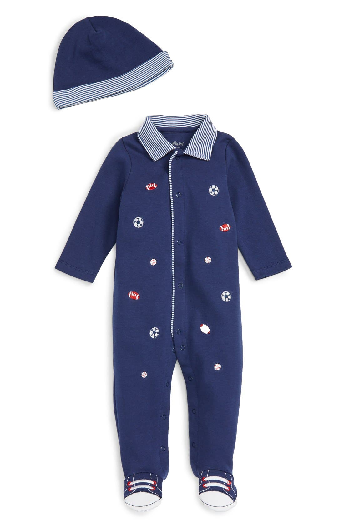 Little Me 'Sports' Footie & Hat Set (Baby Boys)