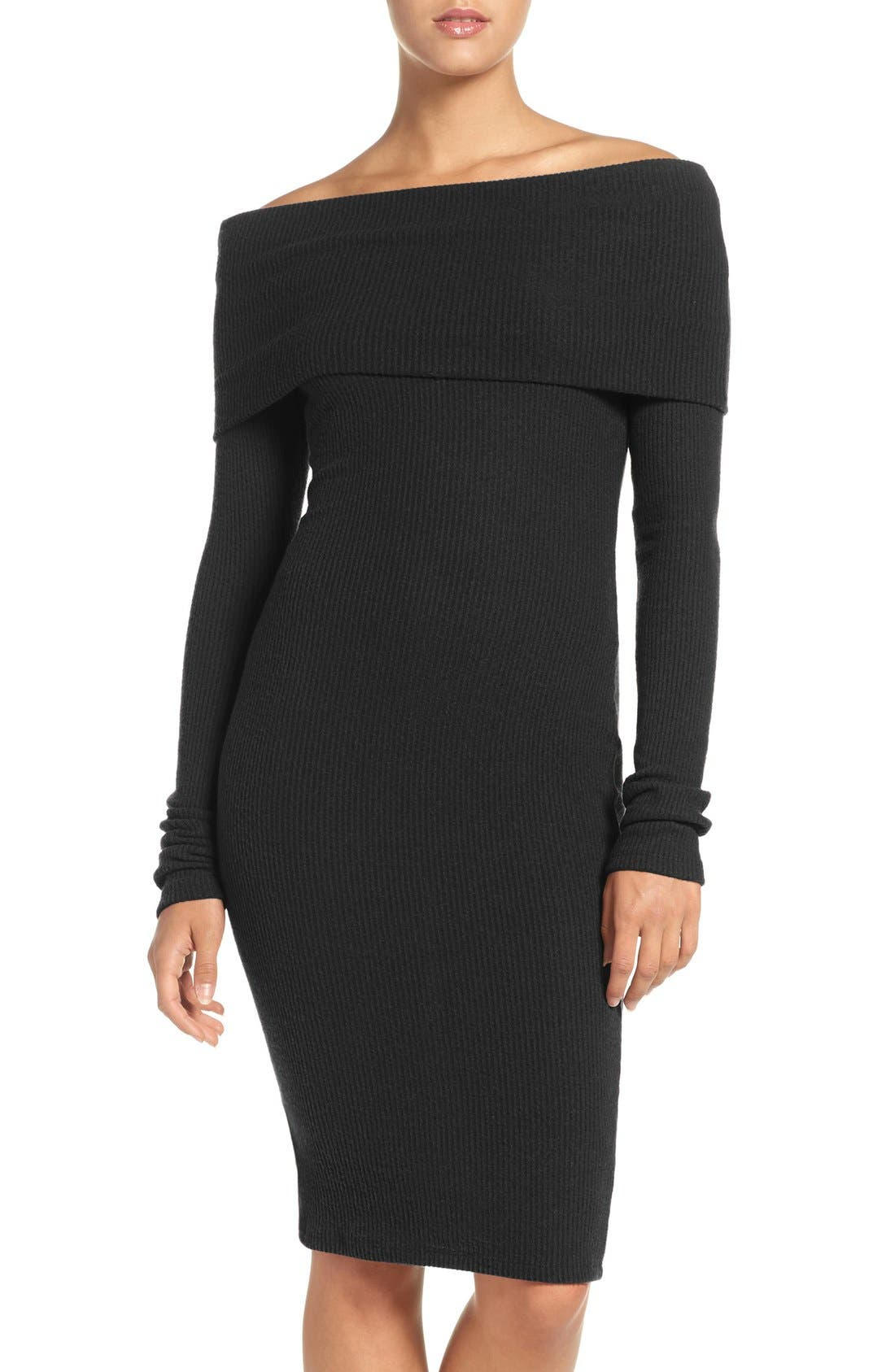 Main Image - NSR Off the Shoulder Body-Con Sweater Dress