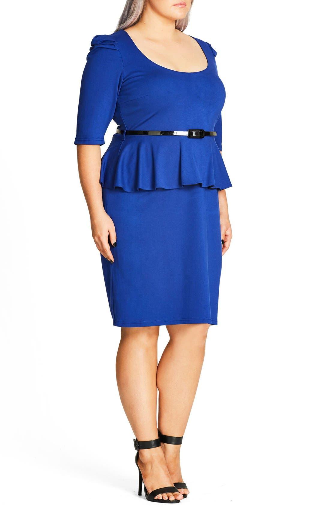 Alternate Image 3  - City Chic Peplum Dress (Plus Size)