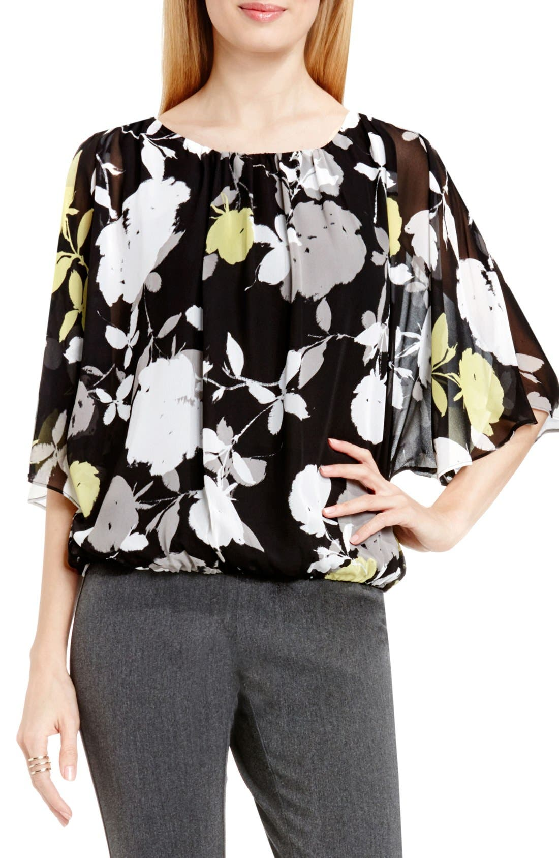 Main Image - Vince Camuto 'Chapel Rose' Print Batwing Blouse