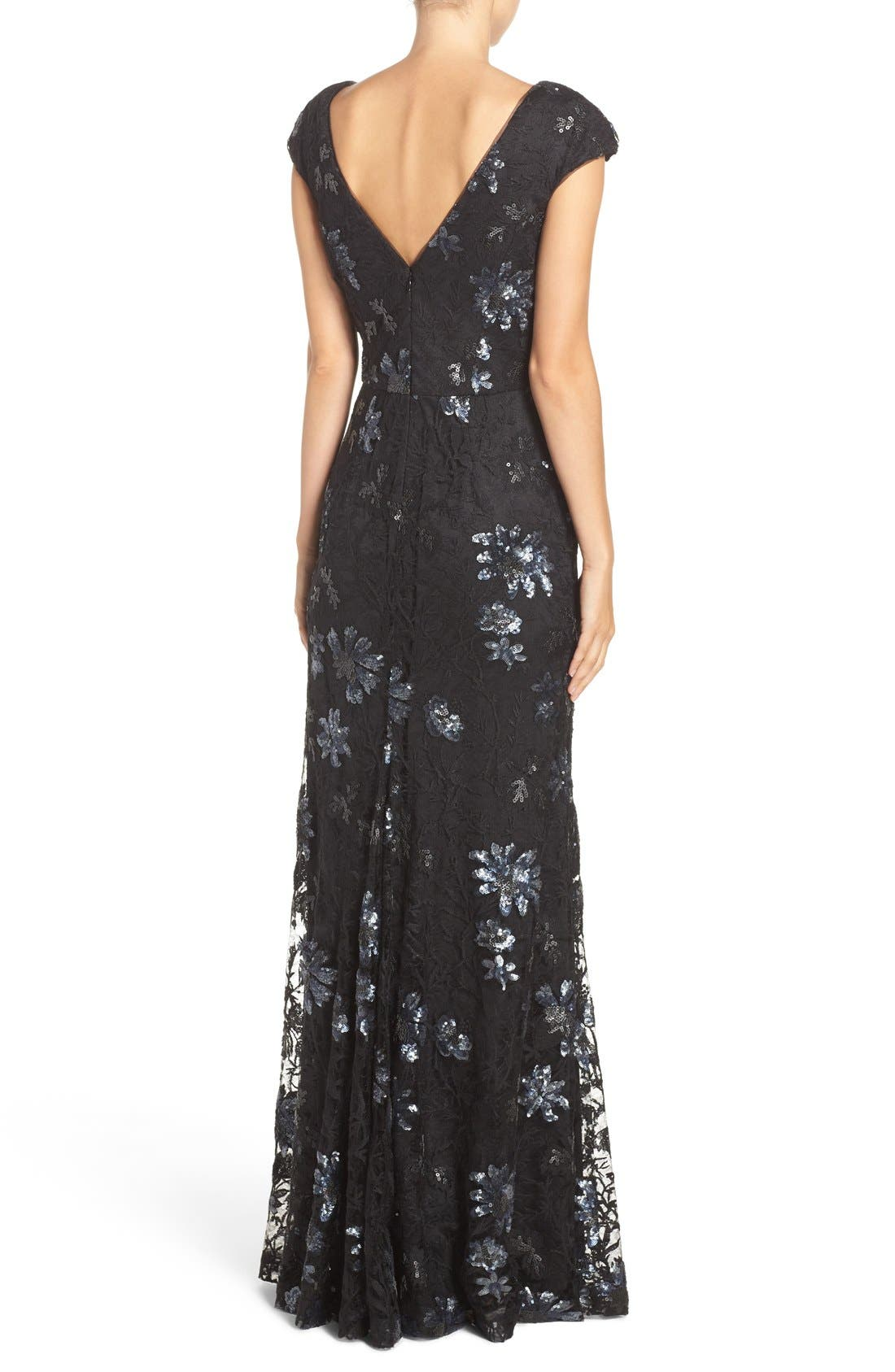 Alternate Image 2  - Vera Wang Sequin Lace Gown