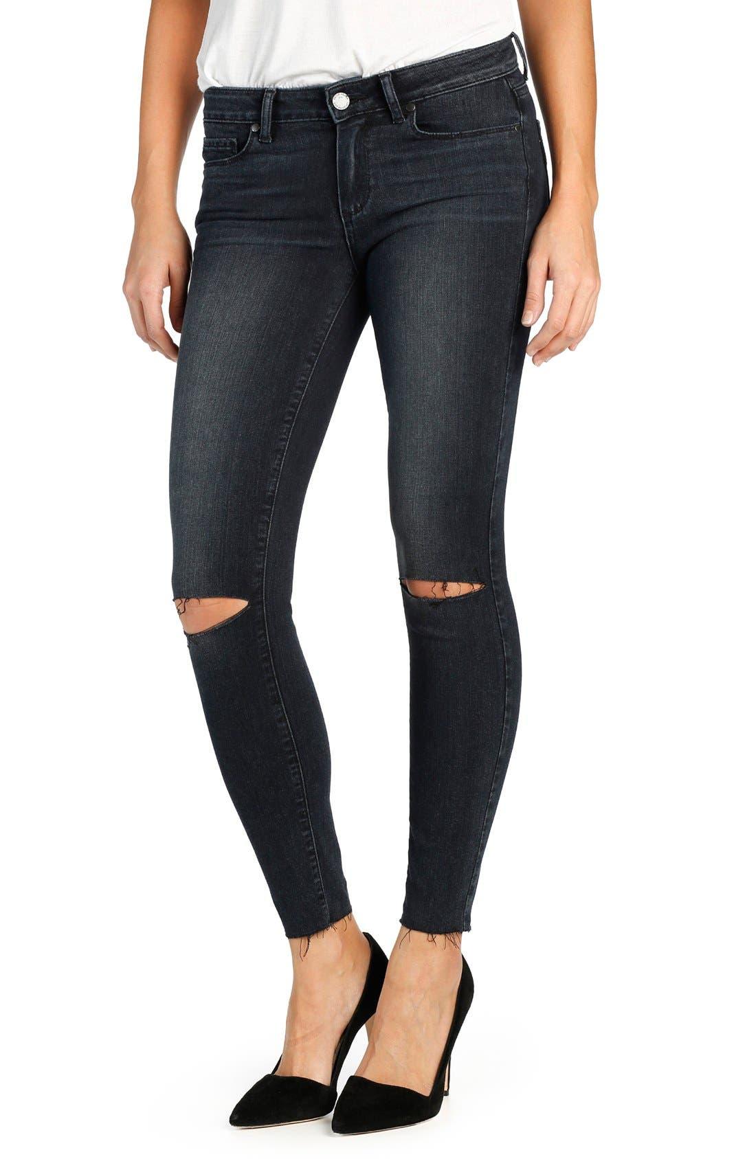 Alternate Image 1 Selected - PAIGE Transcend Verdugo Ripped Ankle Ultra Skinny Jeans (Kaleea Destructed)