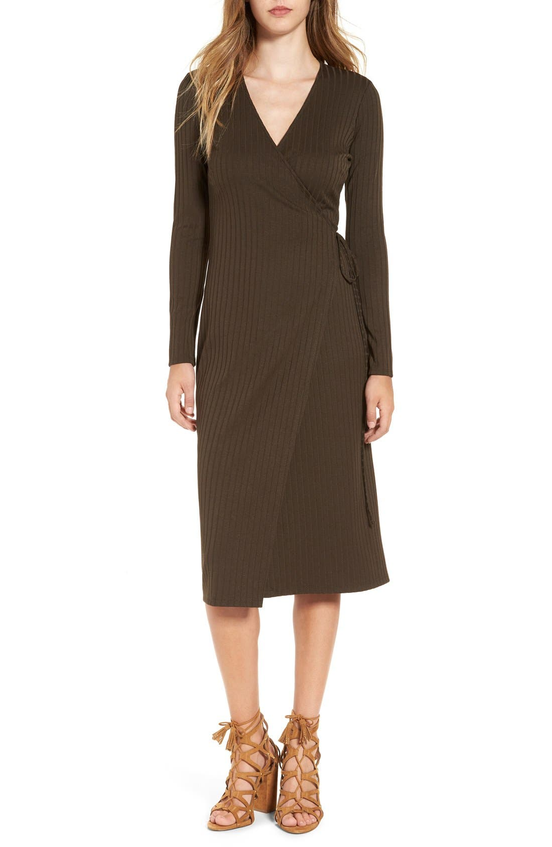 Main Image - ASTR Rib Knit Wrap Dress