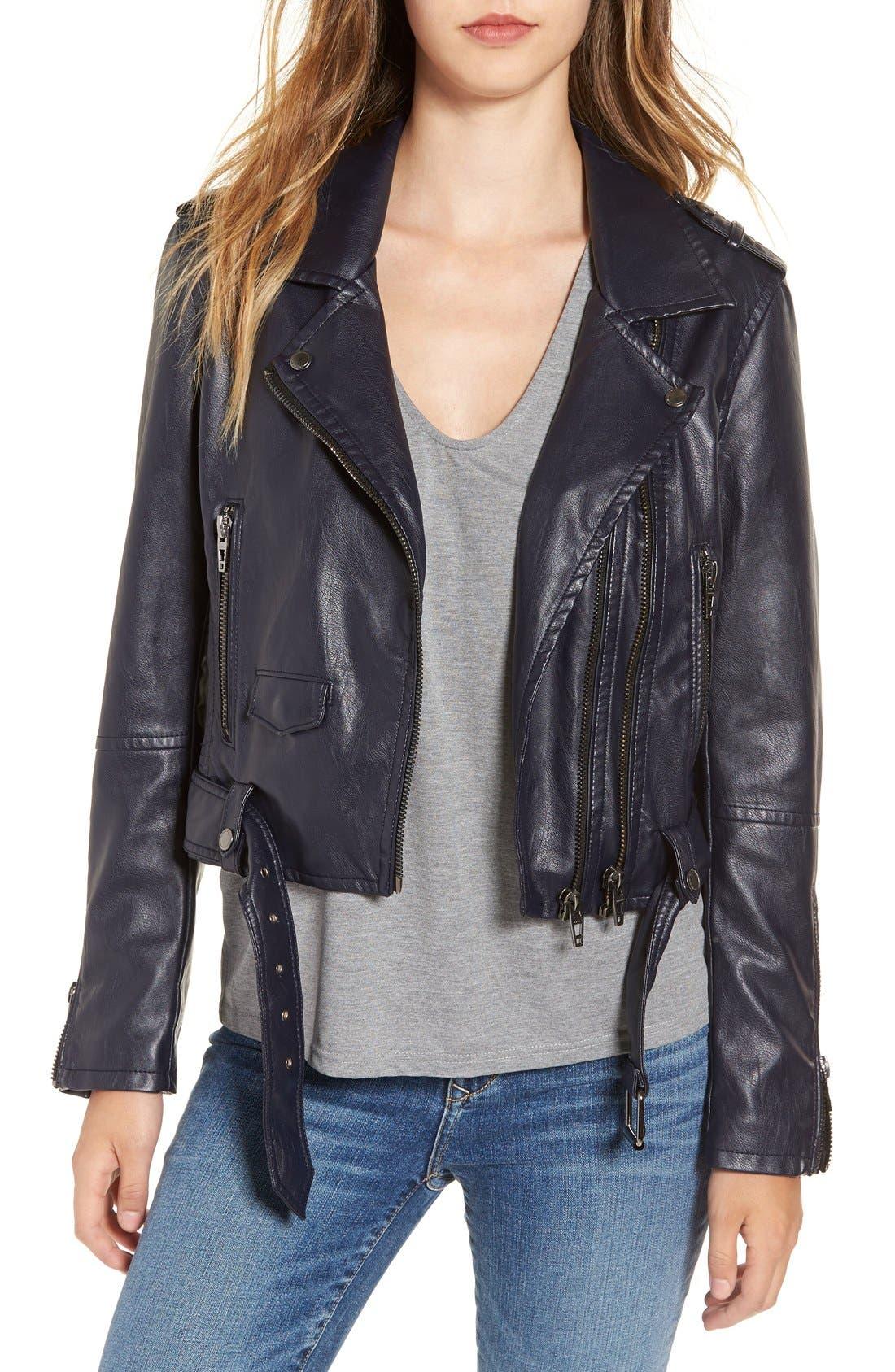 Alternate Image 1 Selected - BLANKNYC Faux Leather Crop Moto Jacket