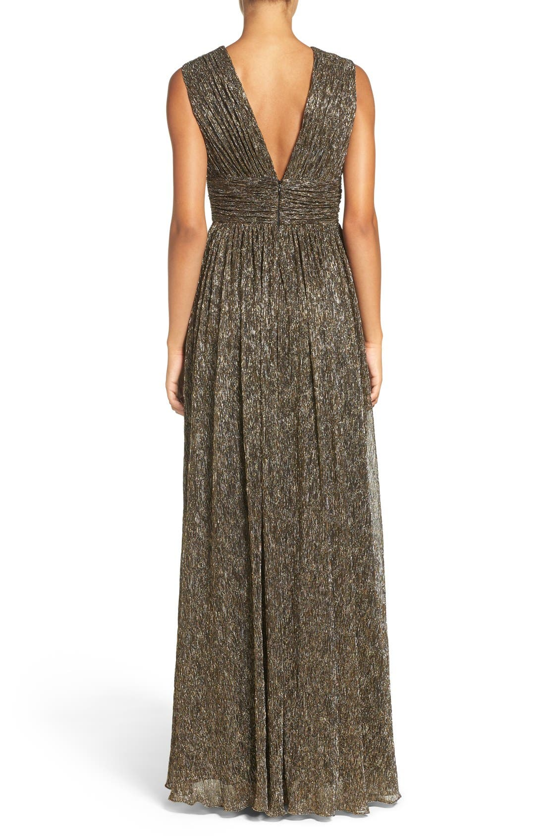 Alternate Image 2  - Aidan by Aidan Mattox Crinkle Metallic Fit & Flare Gown