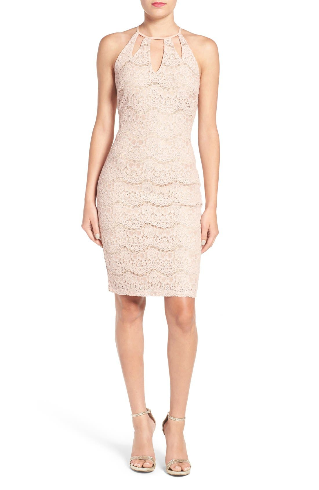 Alternate Image 1 Selected - Love, Fire Cutout Lace Body-Con Dress