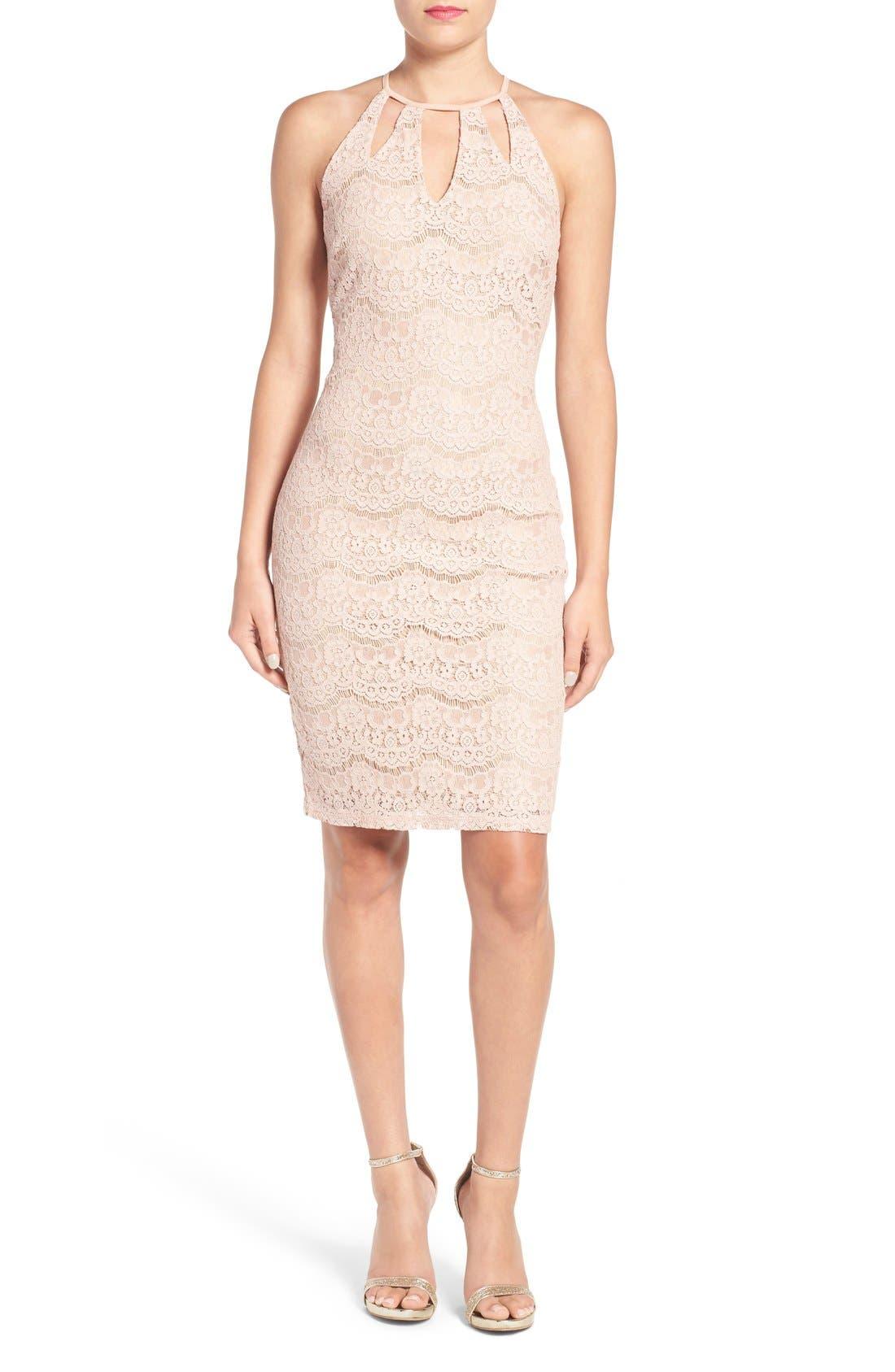 Main Image - Love, Fire Cutout Lace Body-Con Dress