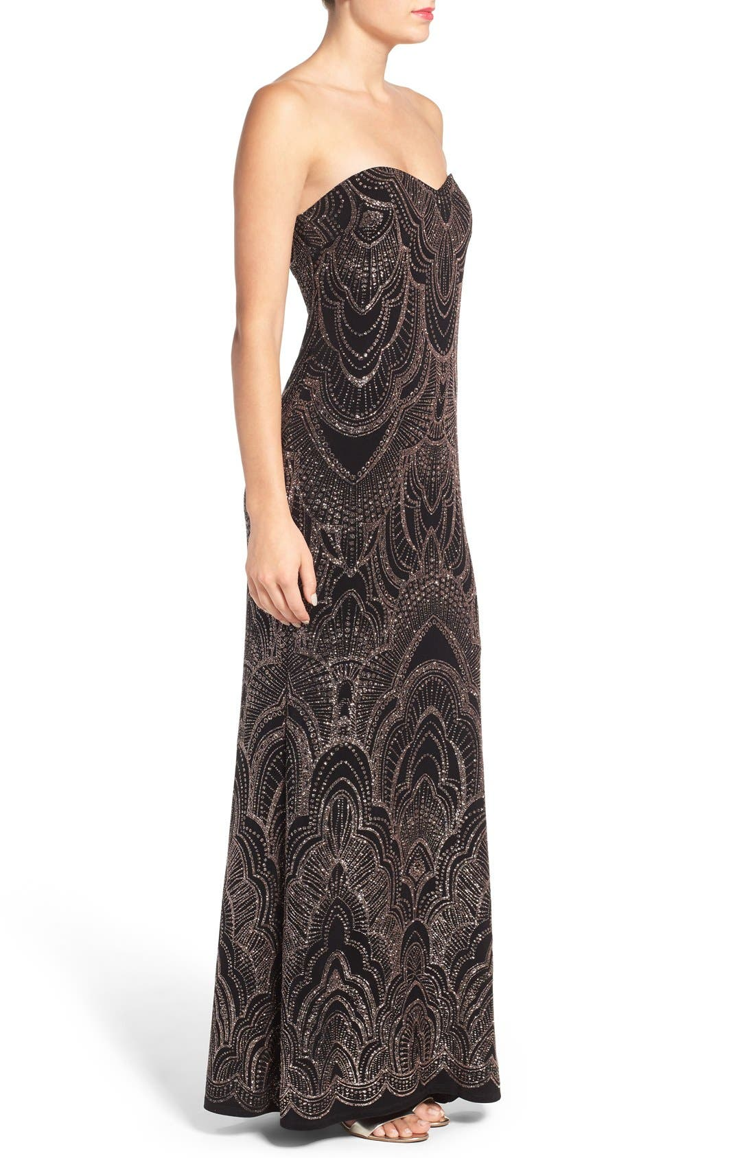 Alternate Image 3  - Jump Apparel Glitter Print Strapless Gown