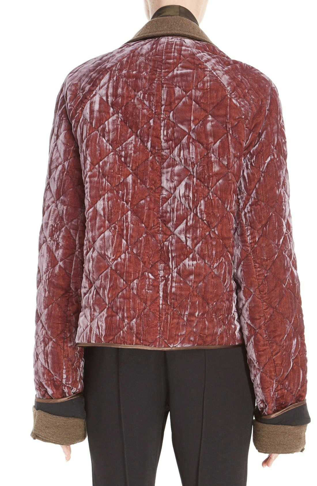 Alternate Image 2  - Haider Ackermann Contrast Detail Quilted Velvet Bomber Jacket
