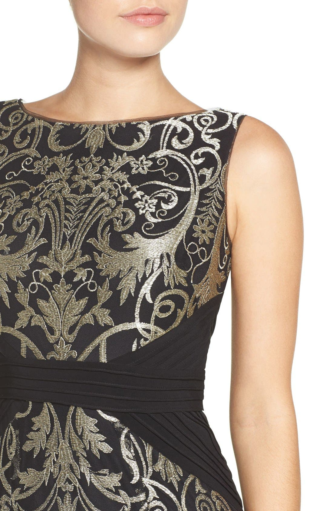 Alternate Image 5  - Adrianna Papell Embroidered Jersey Column Gown