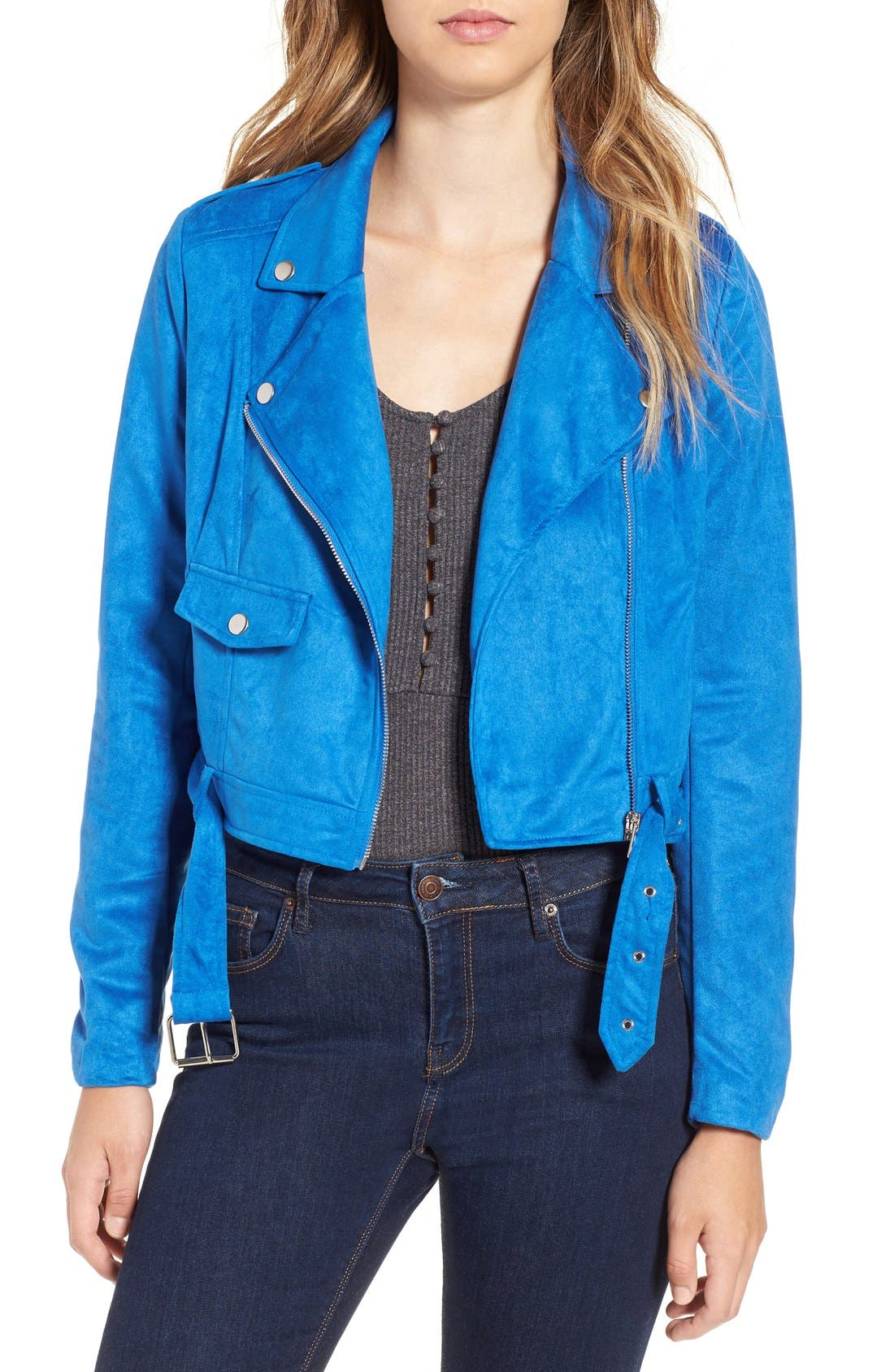 Main Image - Missguided Crop Faux Suede Moto Jacket