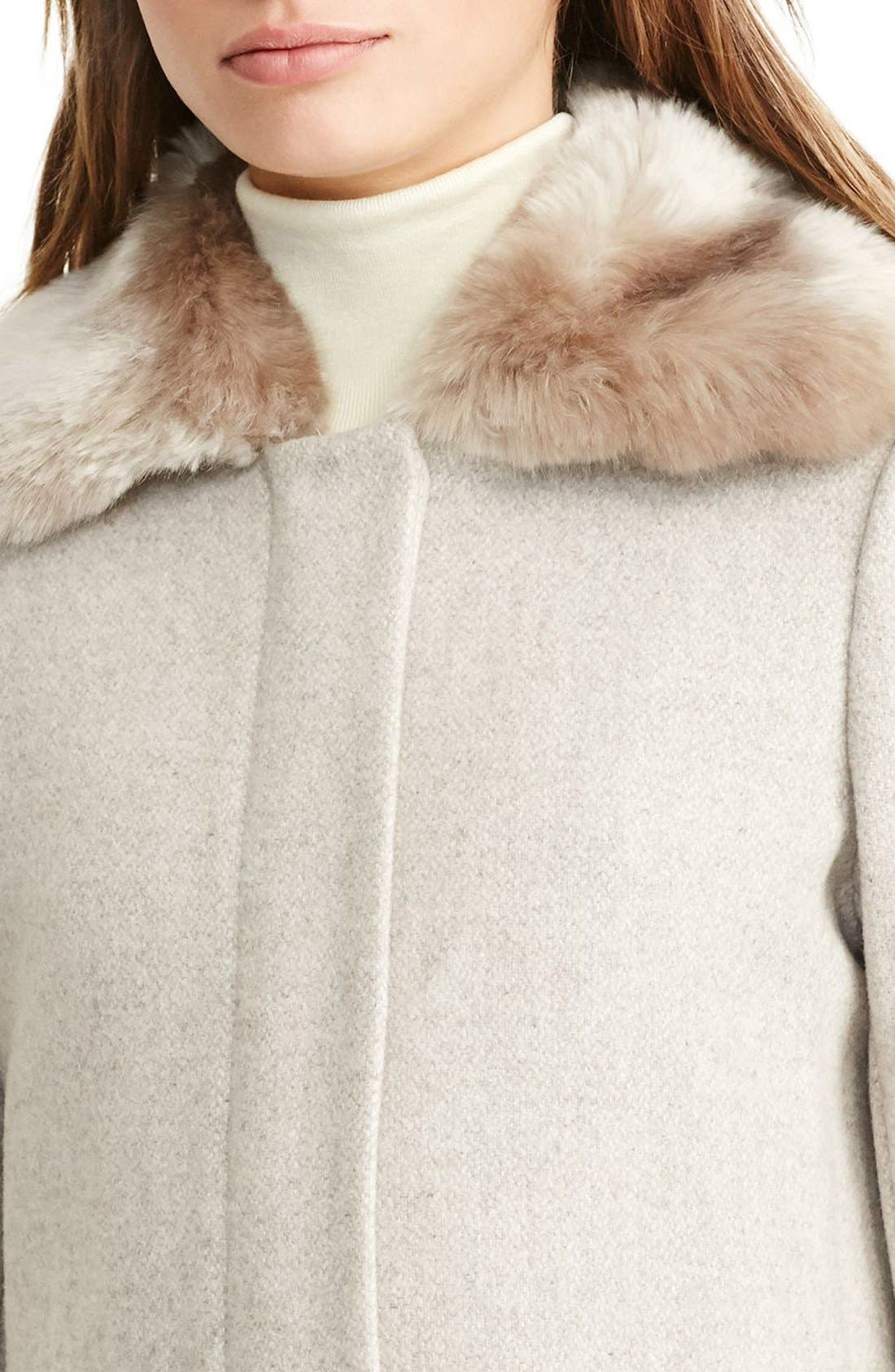 Alternate Image 4  - Lauren Ralph Lauren Wool Blend Coat with Faux Fur Collar (Regular & Petite)