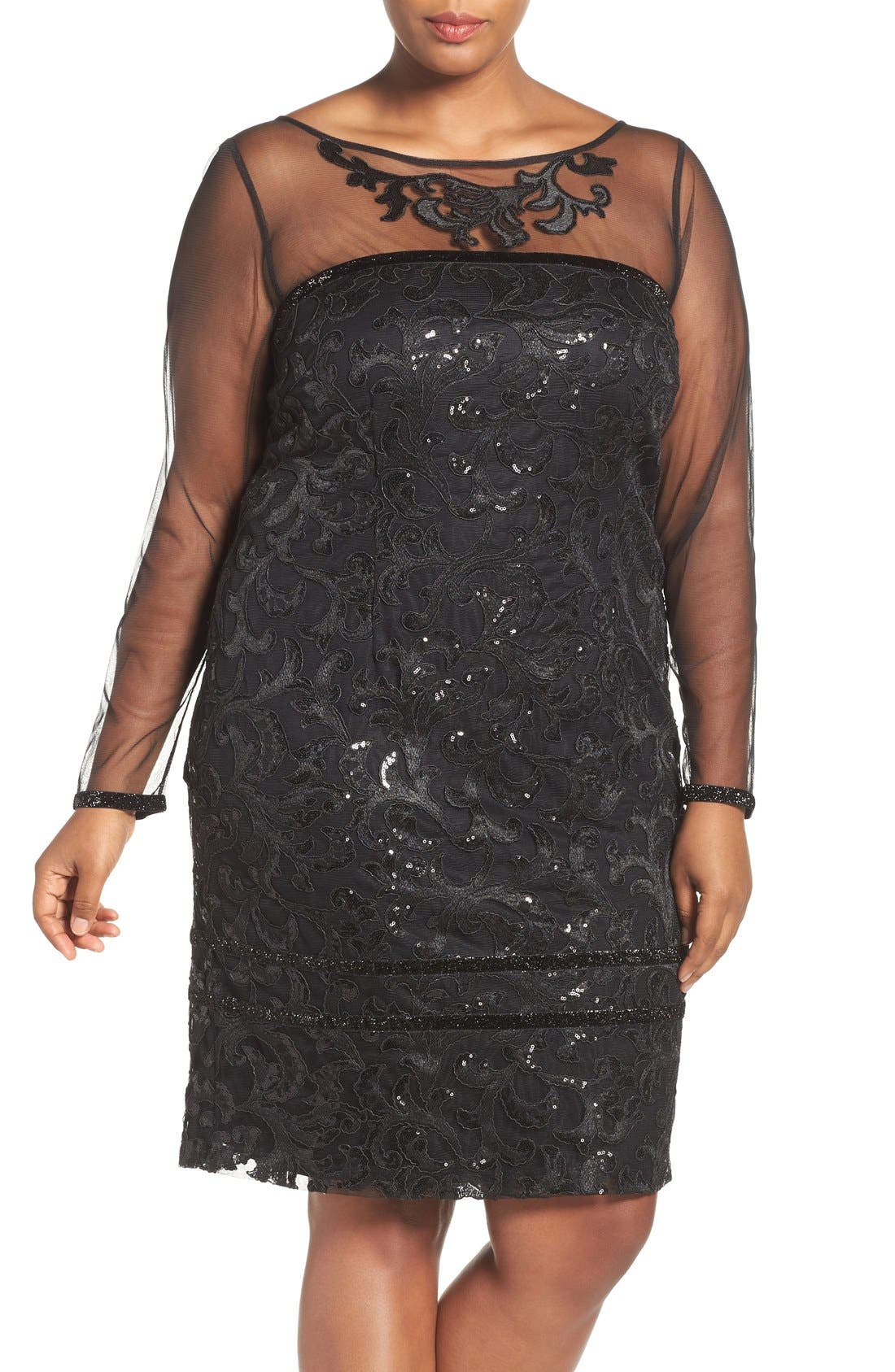 BRIANNA Sequin Lace Sheath Dress with Sheer Illusion