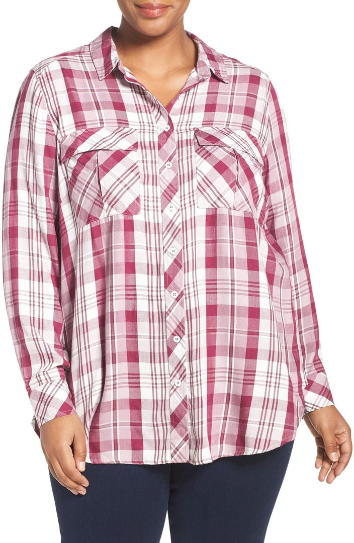 Melissa mccarthy plaid flannel shirt plus size nordstrom for Plus size plaid flannel shirt
