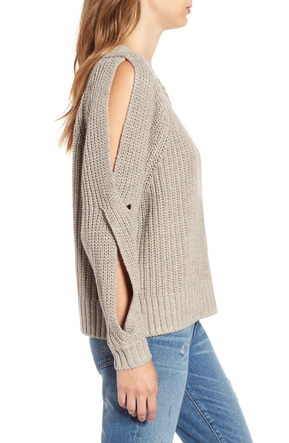 Alternate Image 3  - Leith Ribbed Cold Shoulder Sweater