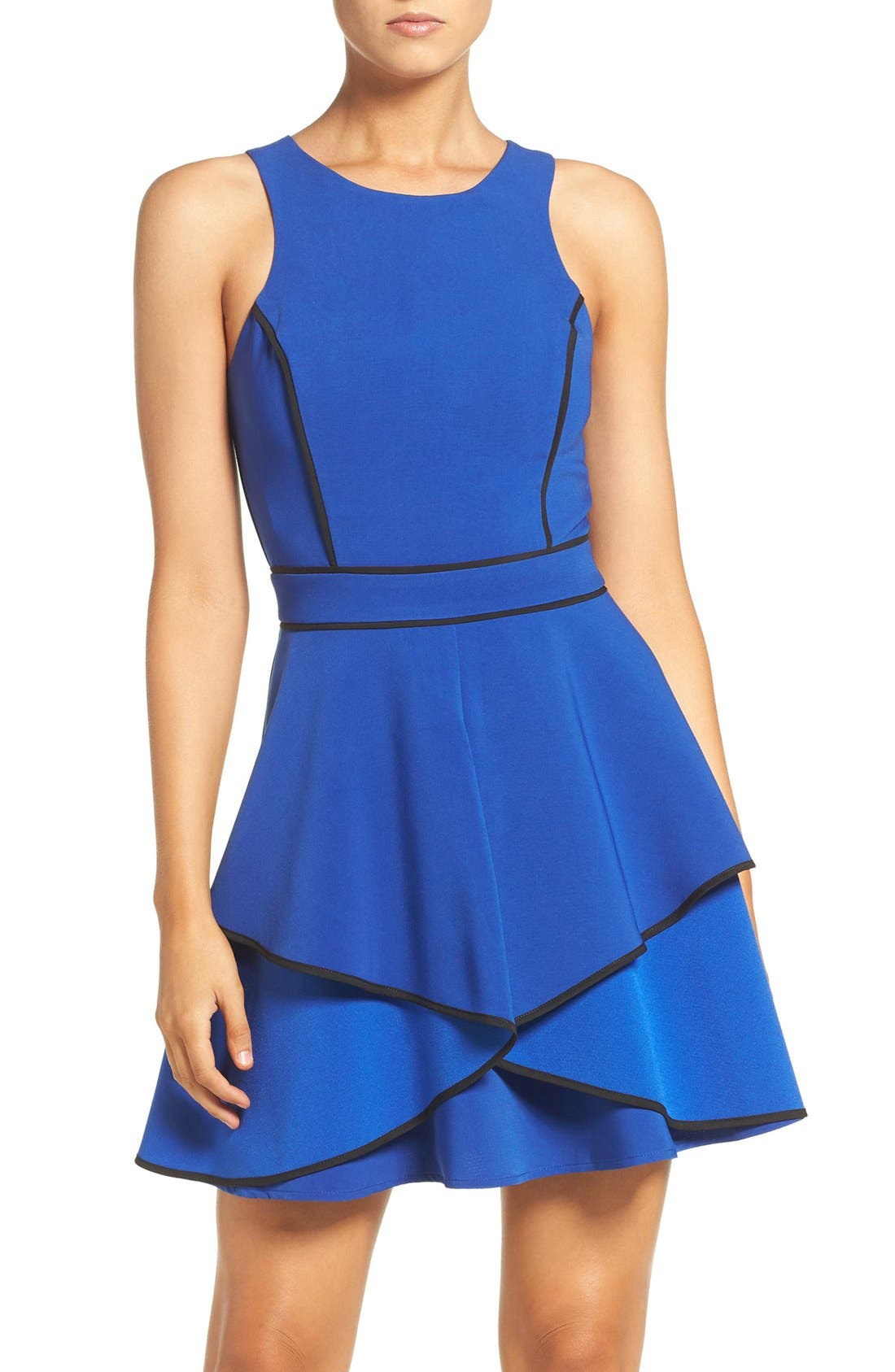 Main Image - Adelyn Rae Piped Crepe Fit & Flare Dress