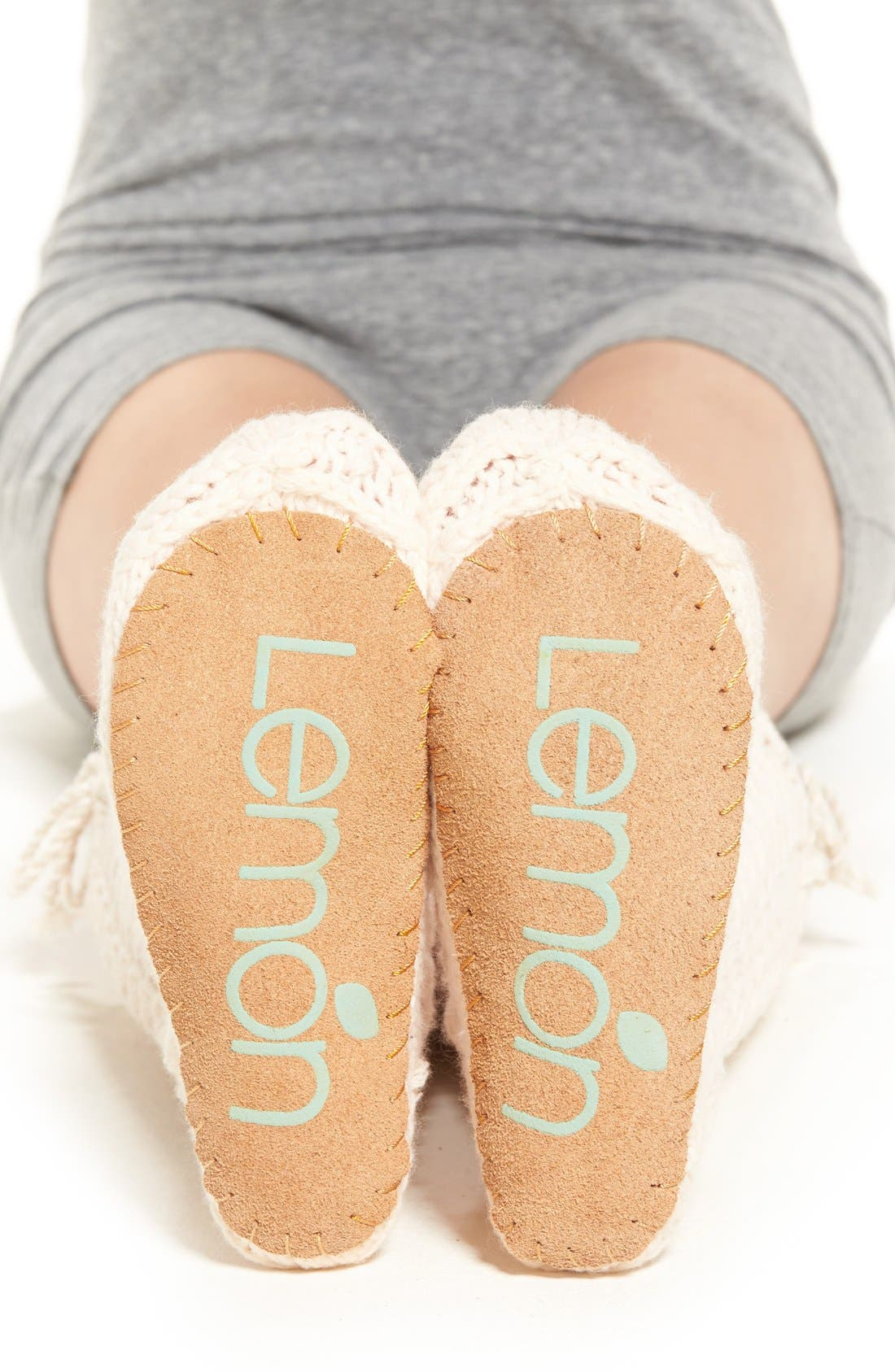 Alternate Image 2  - Lemon 'Arctic' Cable Knit Knee High Slippers