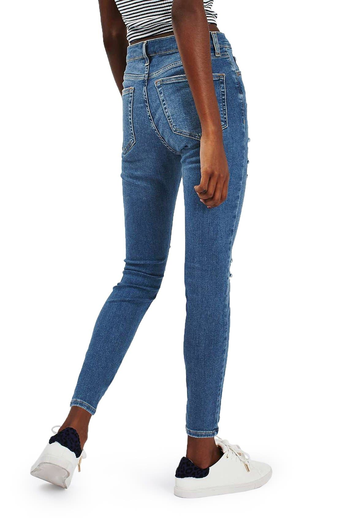 Alternate Image 3  - Topshop 'Jamie' Ripped High Rise Ankle Skinny Jeans (Petite)