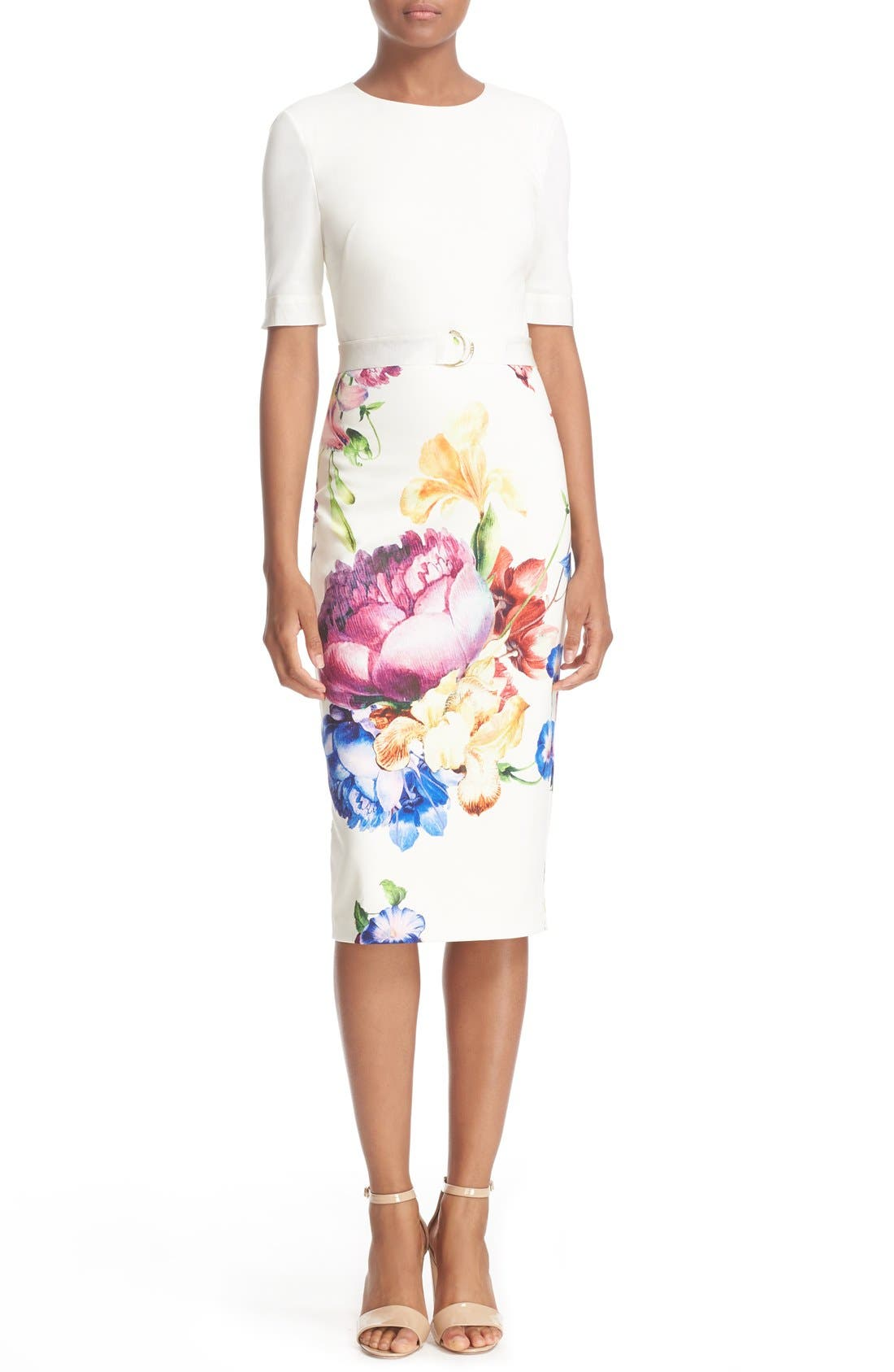 Alternate Image 1 Selected - Ted Baker London 'Tapestry Floral' Belted Print Midi Sheath Dress