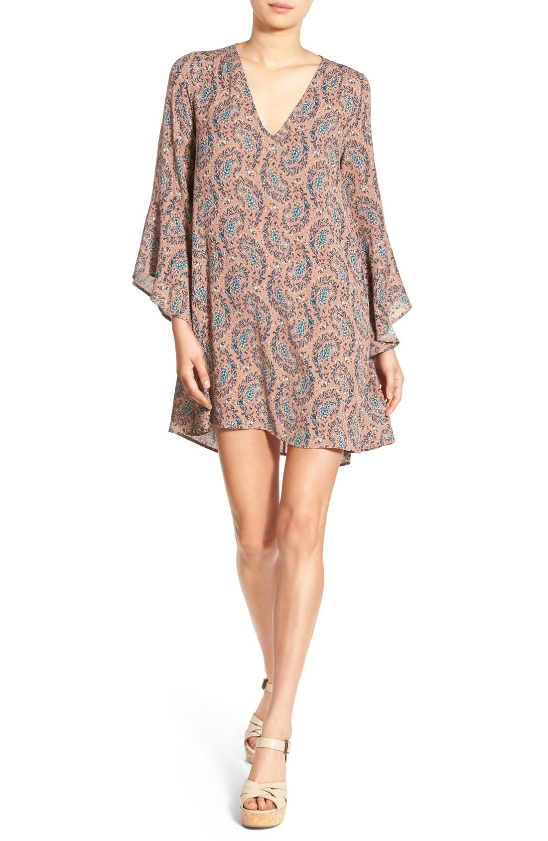Alternate Image 1 Selected - Lush 'Whitney' Bell Sleeve Woven Shift Dress