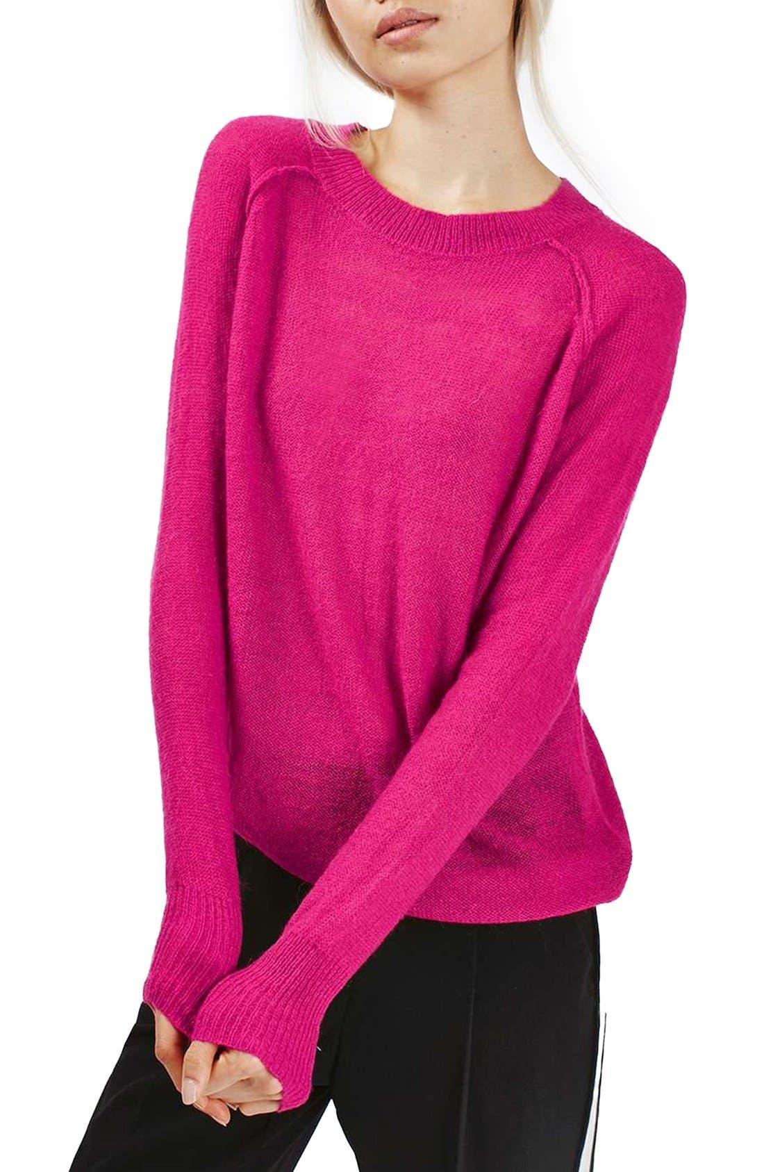 Alternate Image 1 Selected - Topshop Fine Knit Raglan Sweater